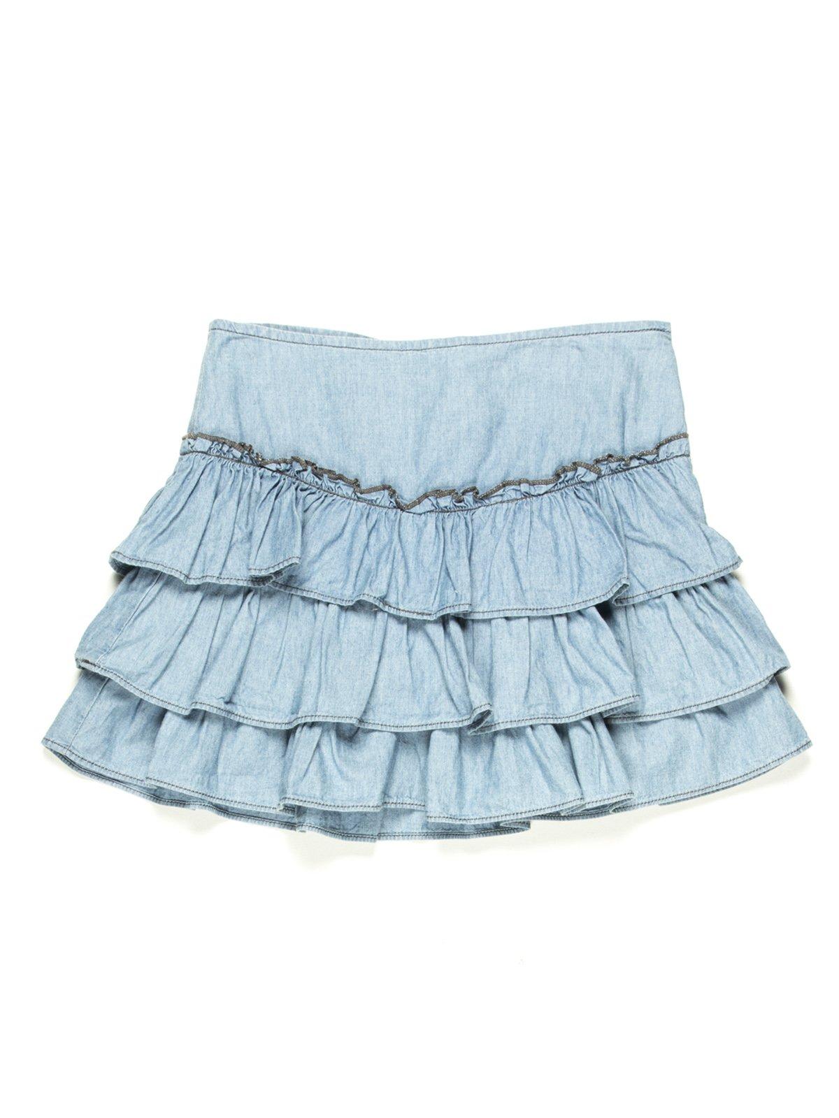 Спідниця синя джинсова з оборками   597296