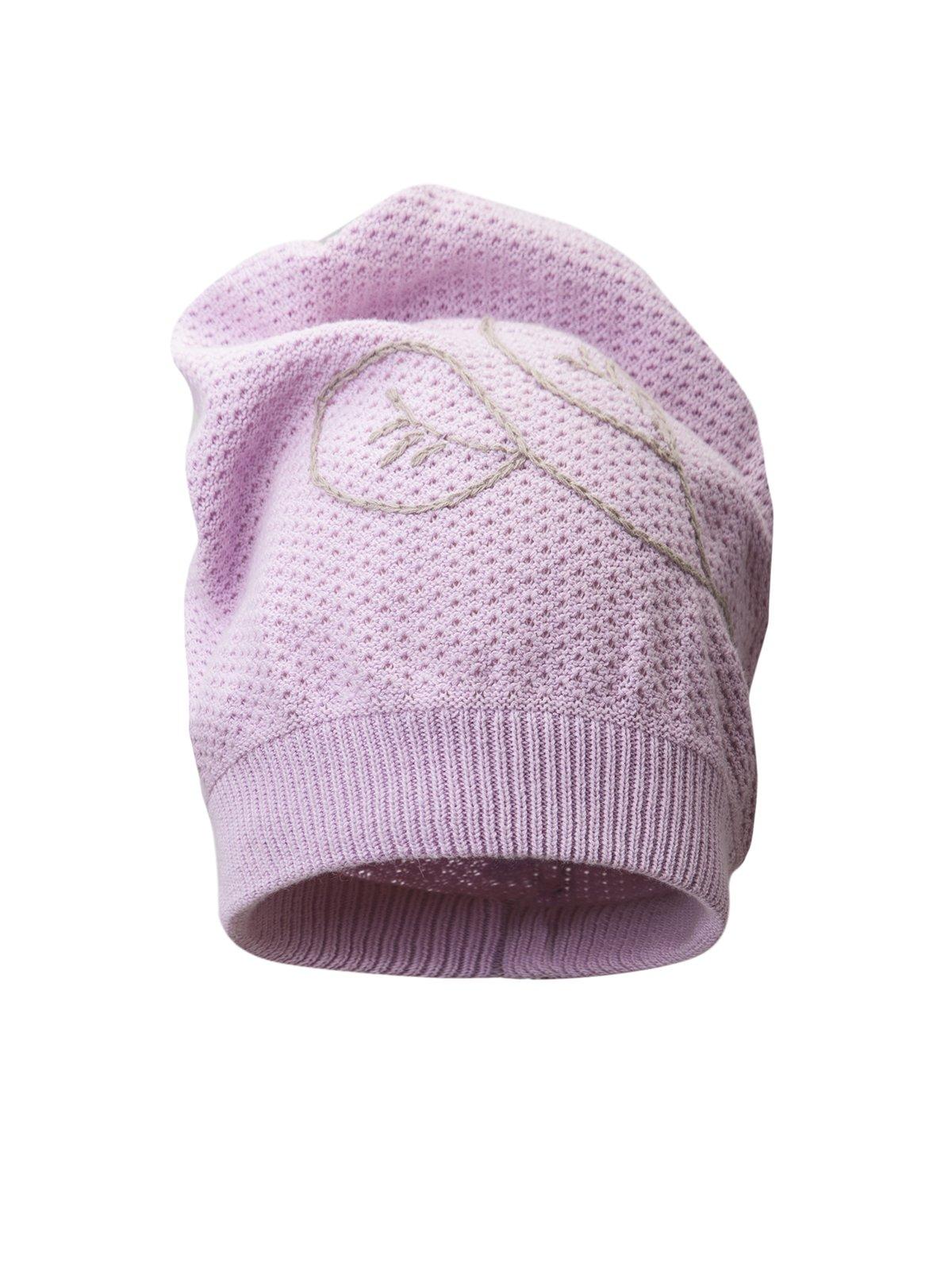 Шапка розовая с вышивкой | 311817 | фото 3