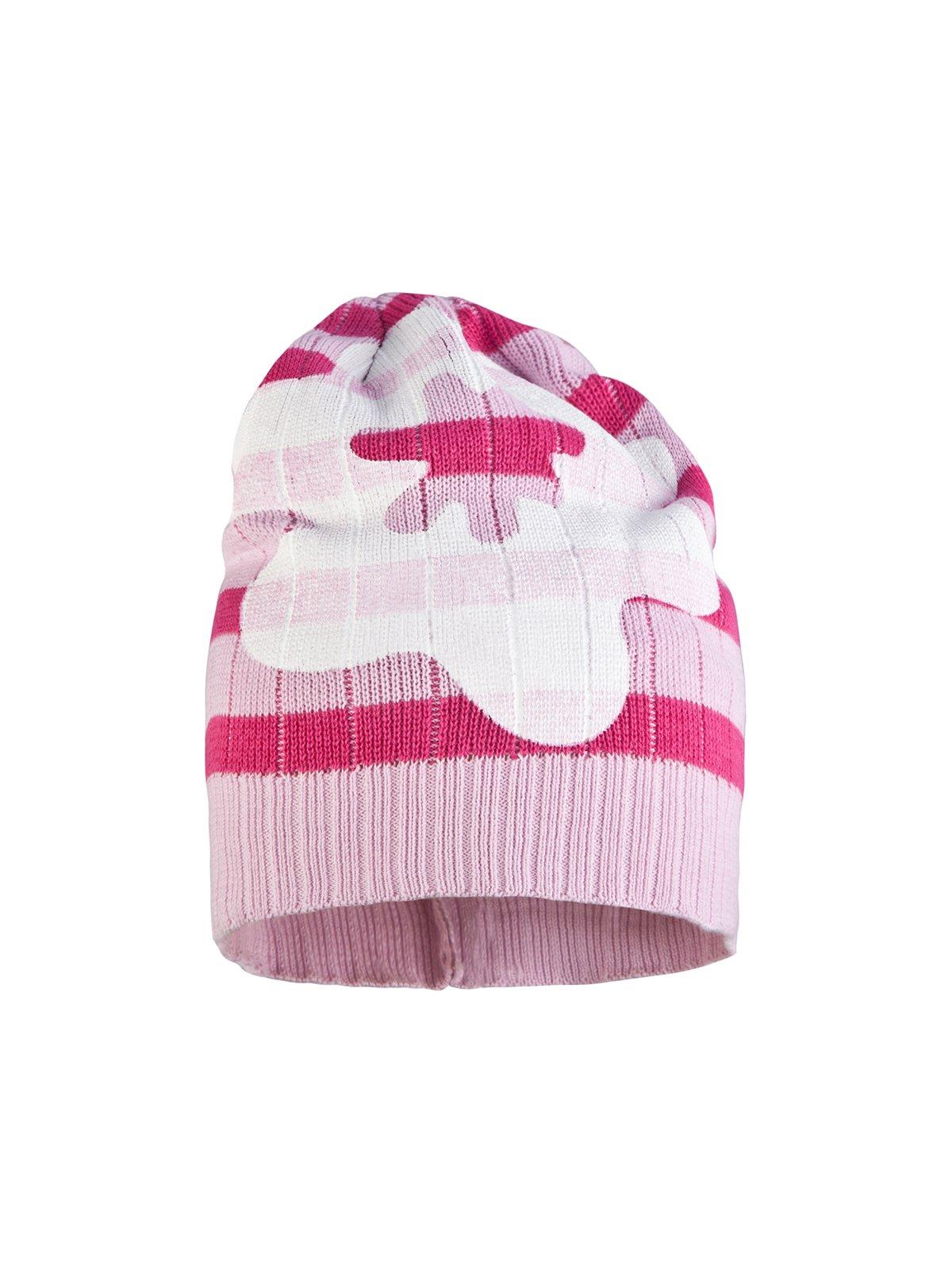 Шапка бело-розовая в полоску | 311821