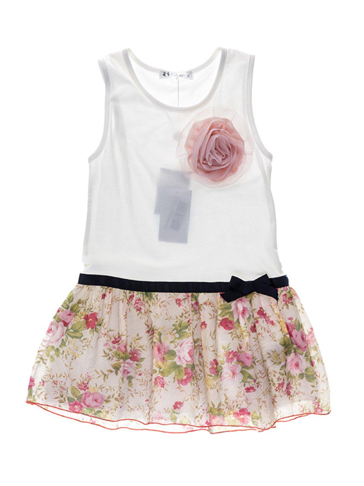 Туника белая с цветочным принтом и цветком   933649
