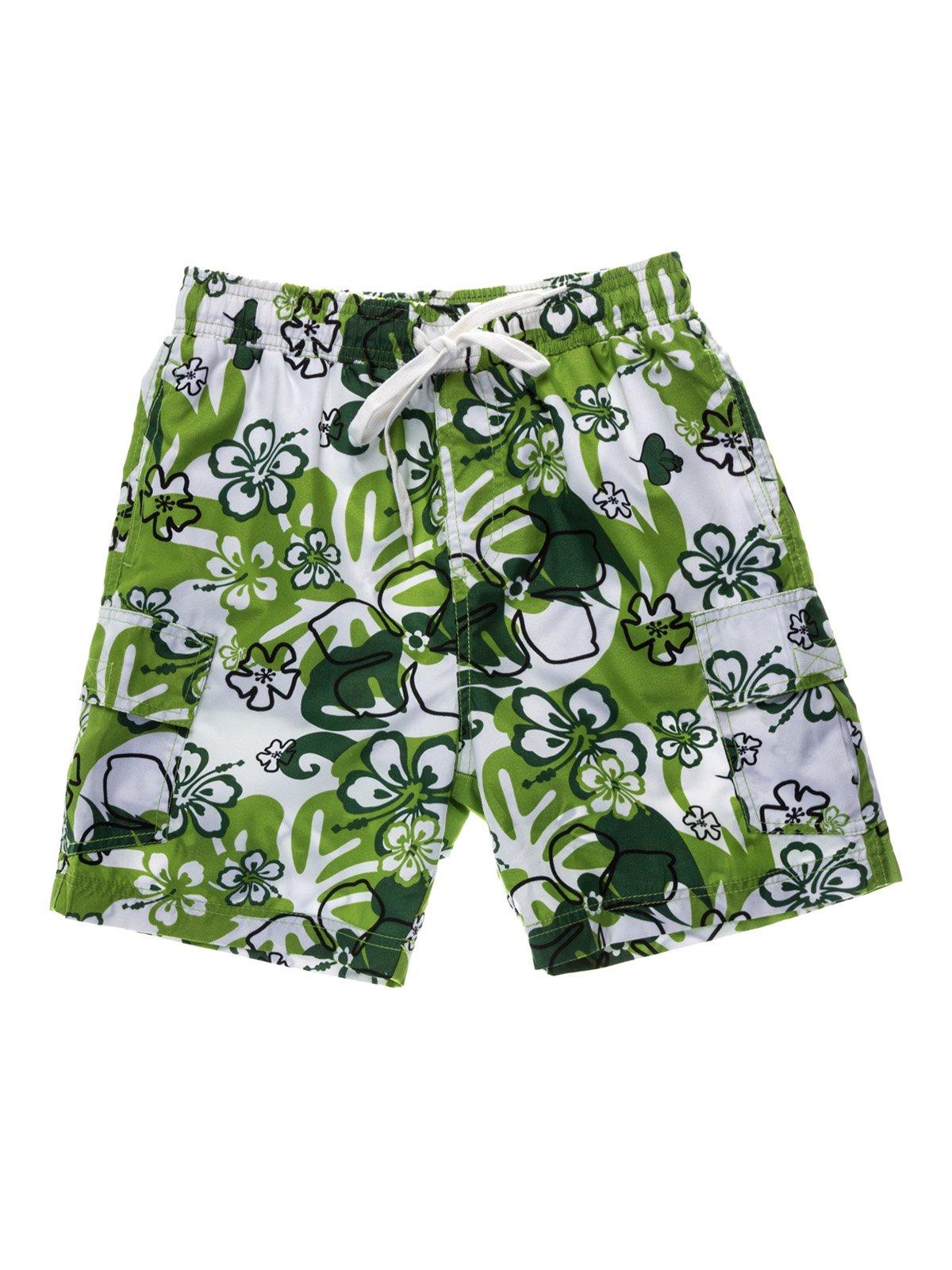 Шорти біло-зелені принт пляжно-купальні   933689