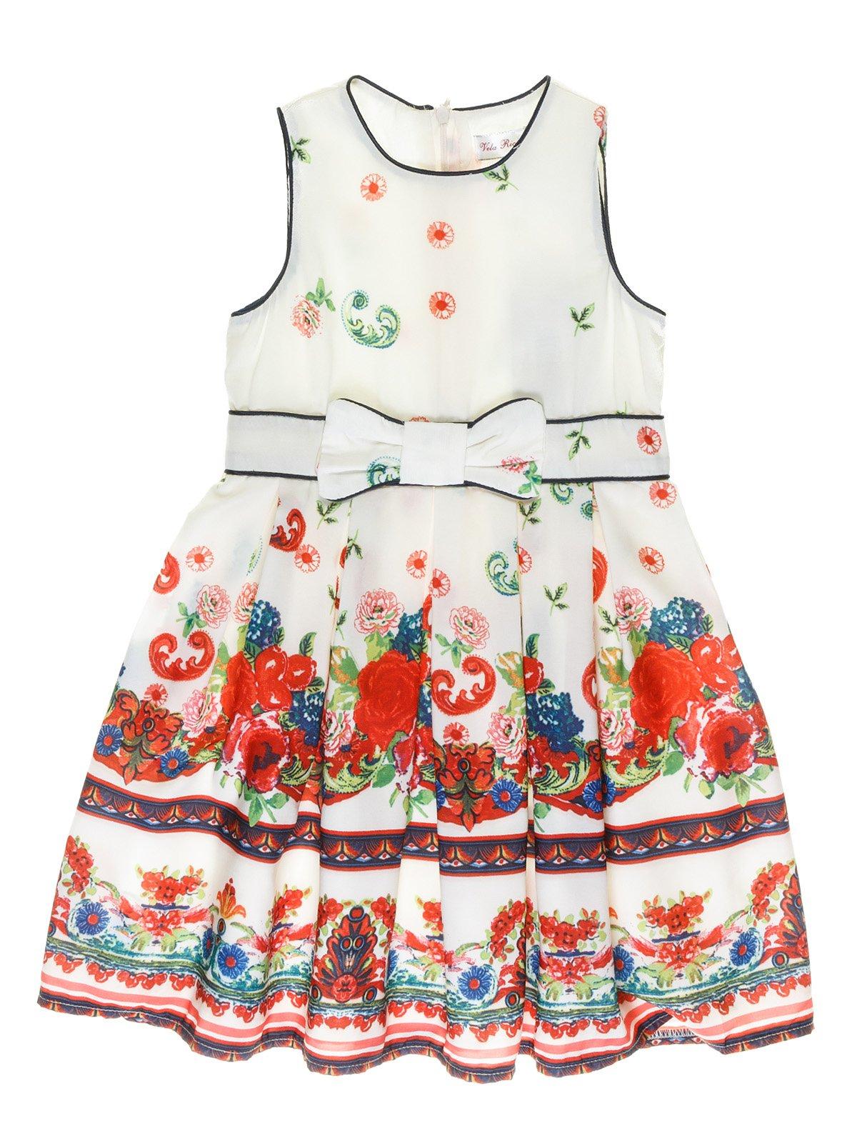 Платье молочного цвета с ярким рисунком | 973716