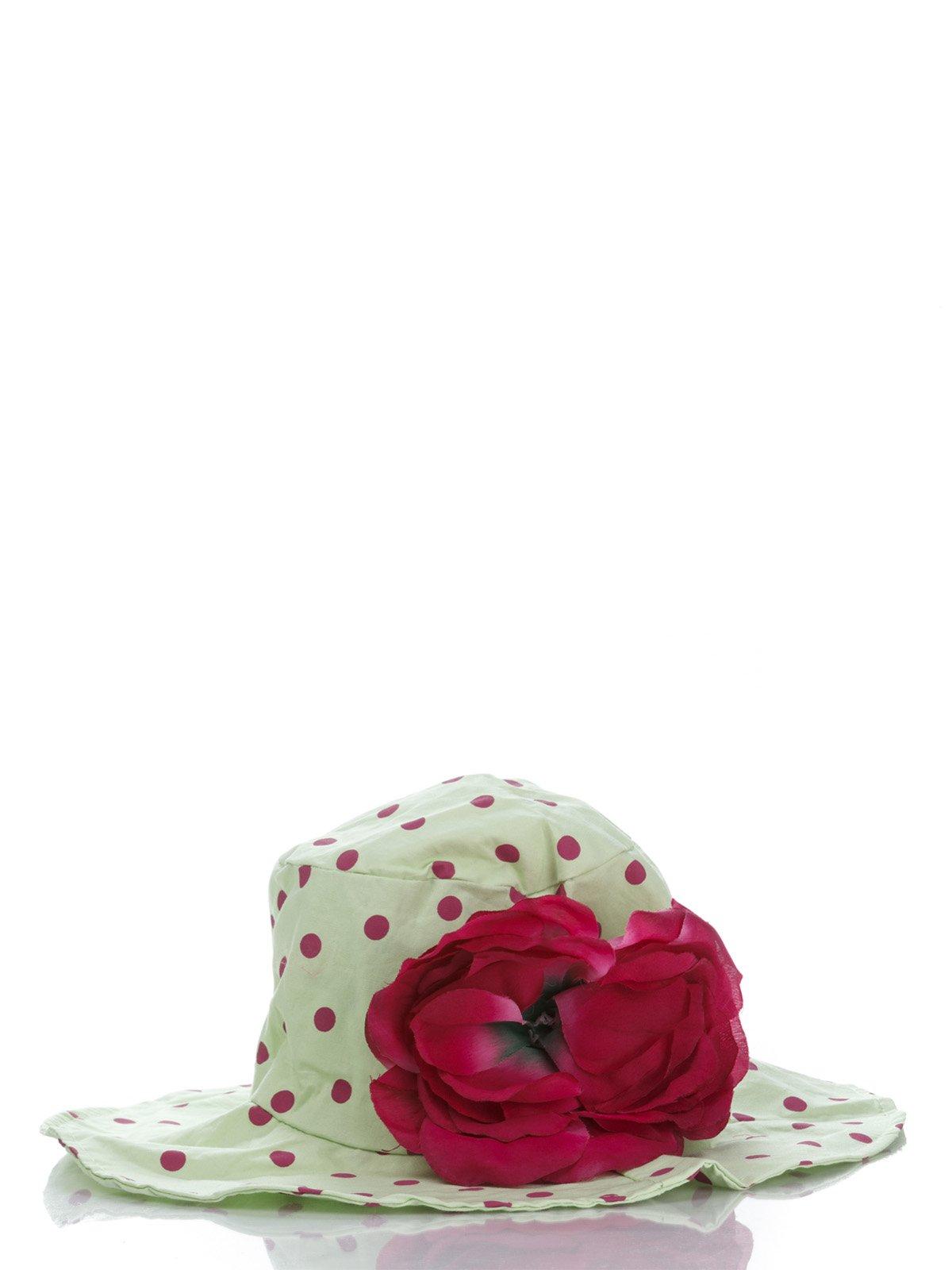 Панамка салатовая в горох с цветком | 987141