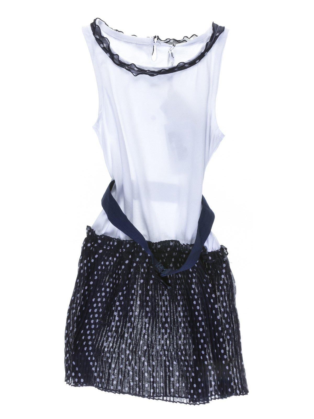 Сукня біло-синя з оздобленням горох | 1001725