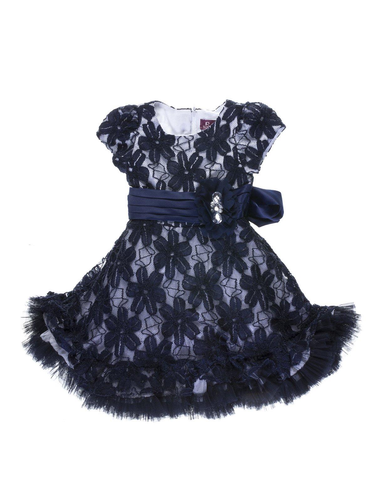 Платье сине-белое гипюровое | 755072