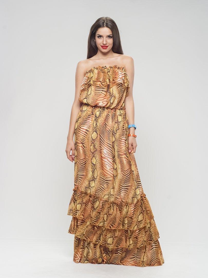 Сукня-бюстьє анімалістичного забарвлення | 1004527