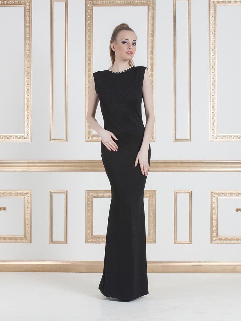 Платье черное декорированное | 1029372