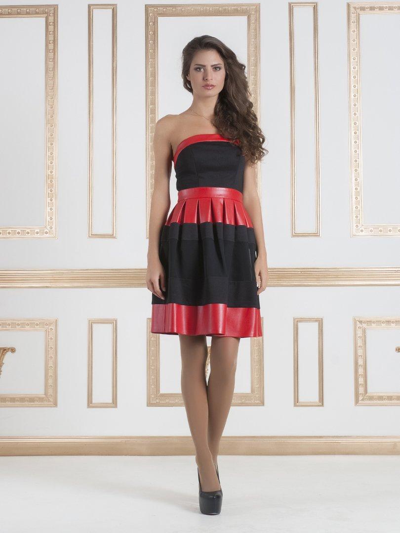 Сукня-бюстьє червоно-чорна | 1029376