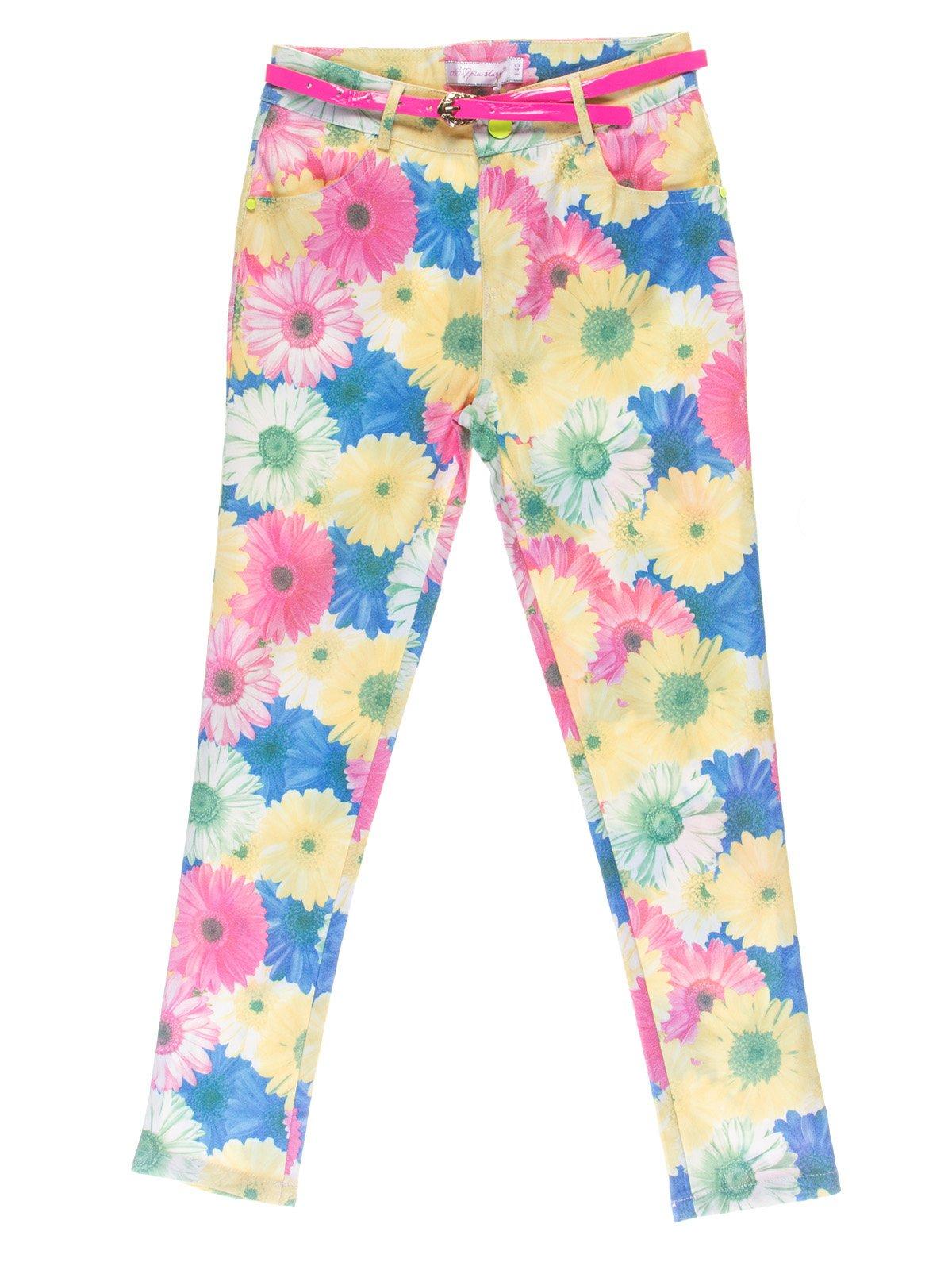 Брюки цветочной расцветки с ремешком | 1039070