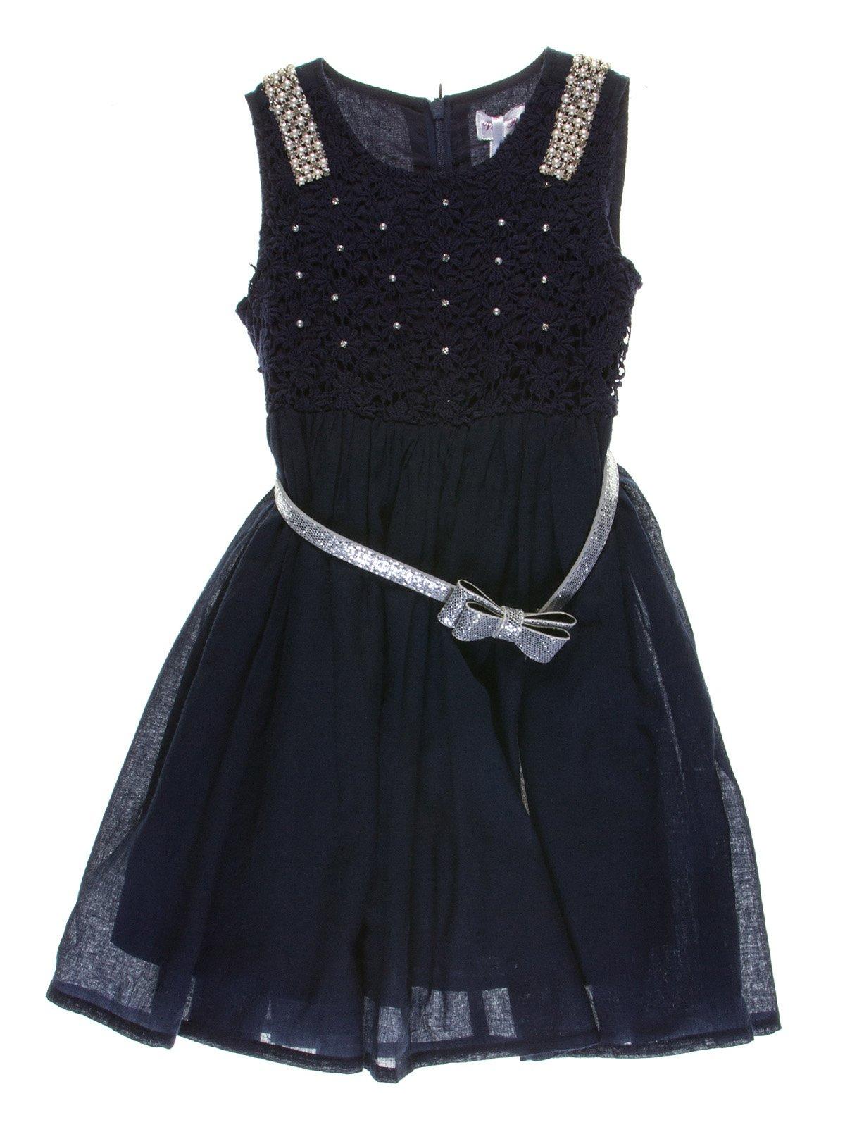 Платье темно-синее с декором и ремешком | 1039100