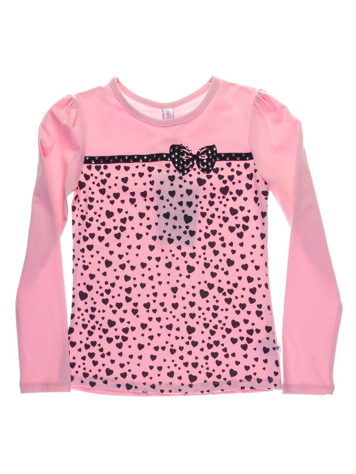 Джемпер розовый в принт-сердечки с декором   1039105