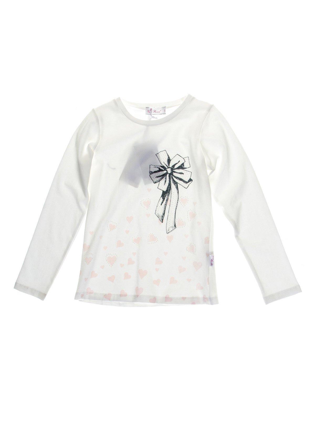 Джемпер белый с декорированным принтом | 1039101