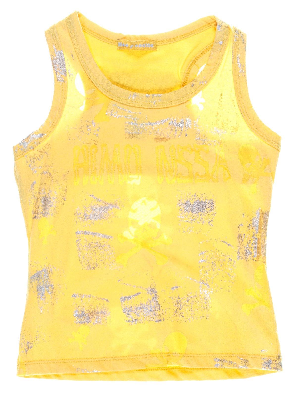 Майка жовта в принт | 1051281