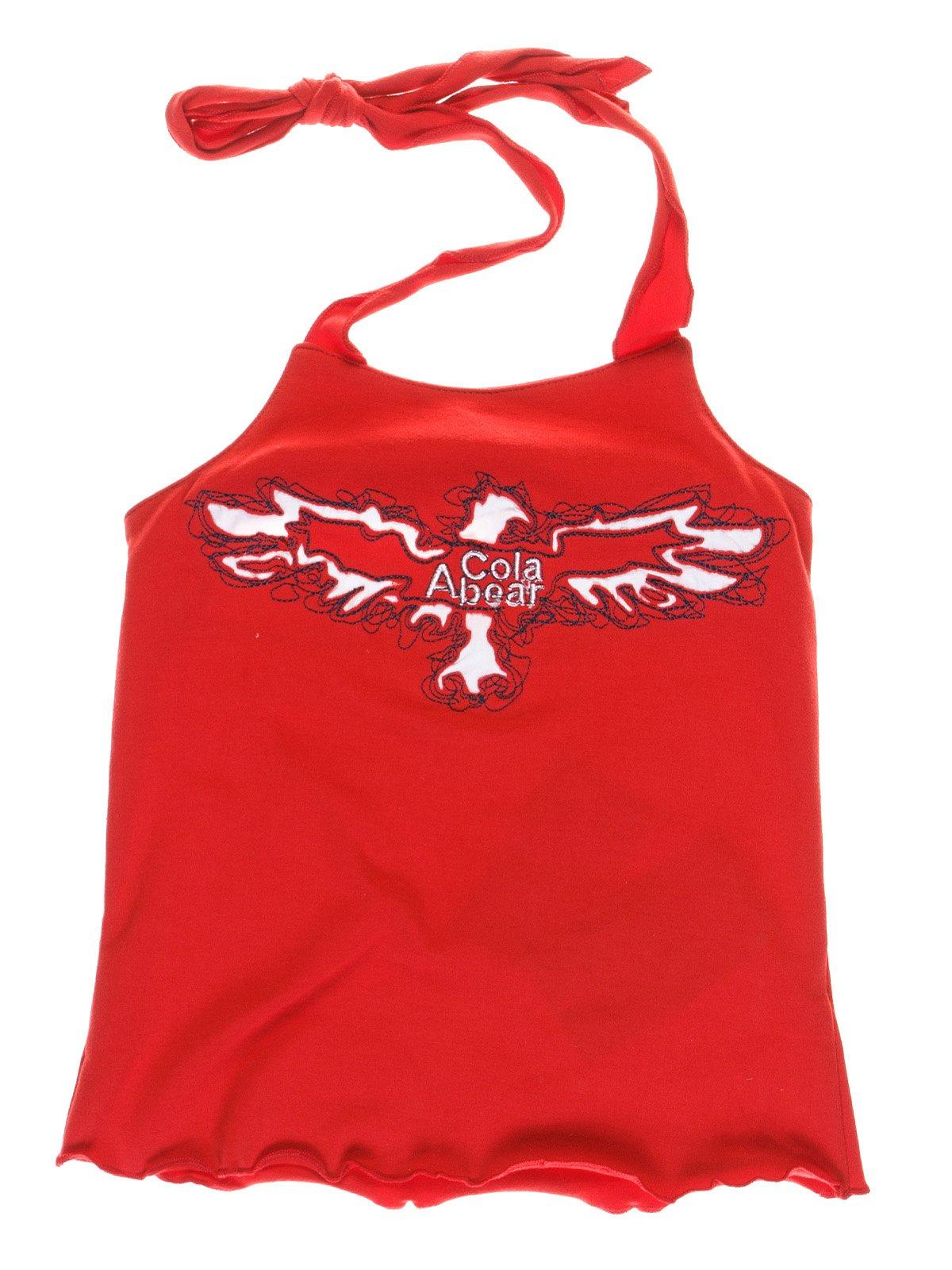 Майка красная с вышивкой | 1051102