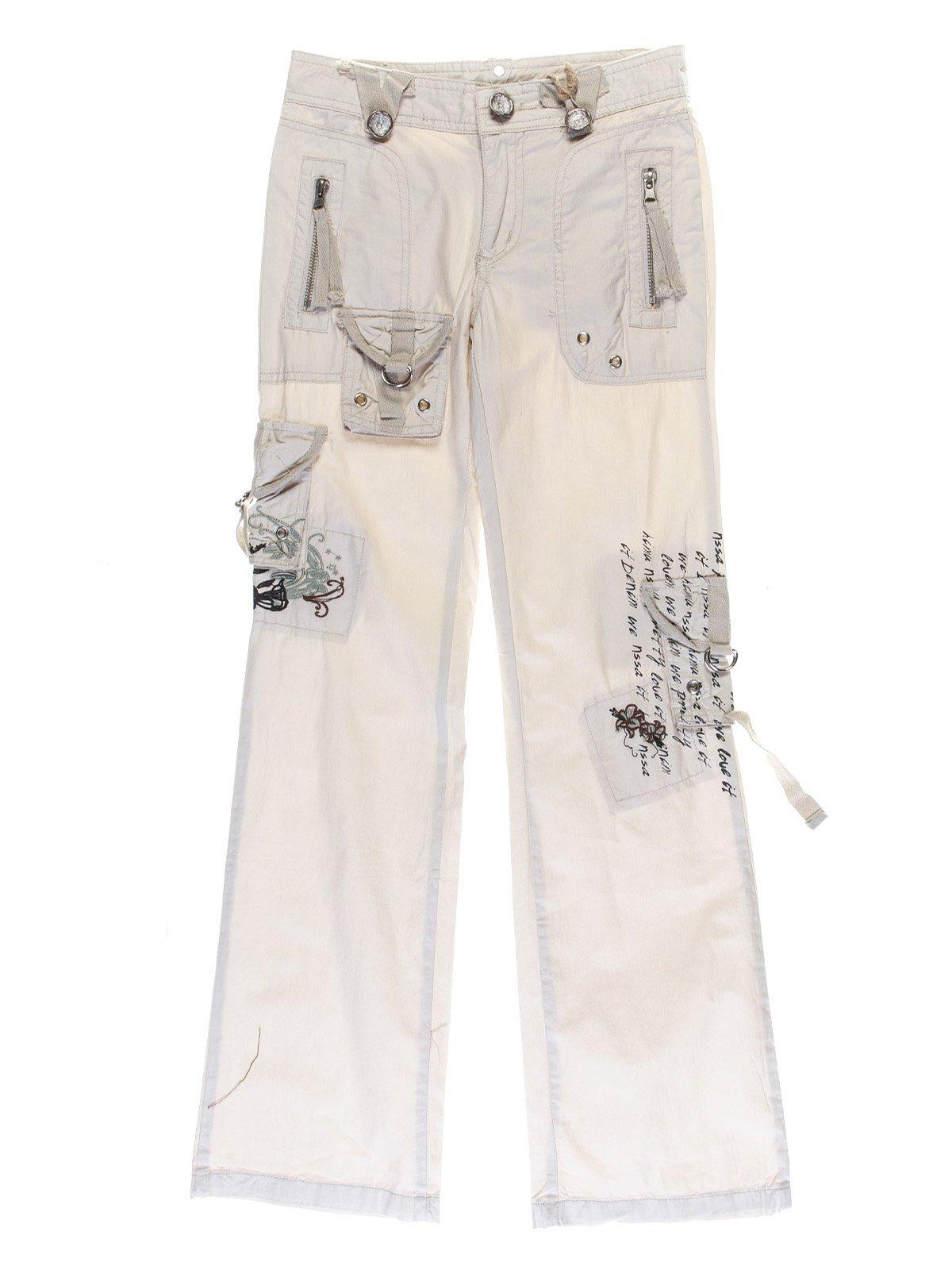 Брюки бежевые с вышивкой и надписями | 1051204