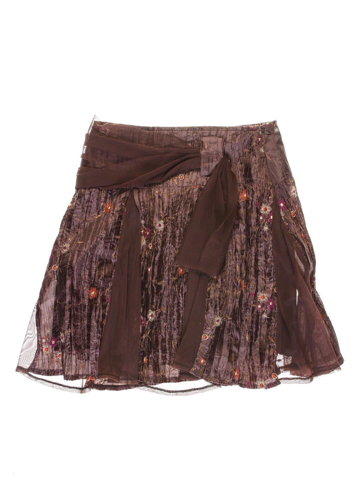Юбка коричневая комбинированная с вышивкой | 1051371