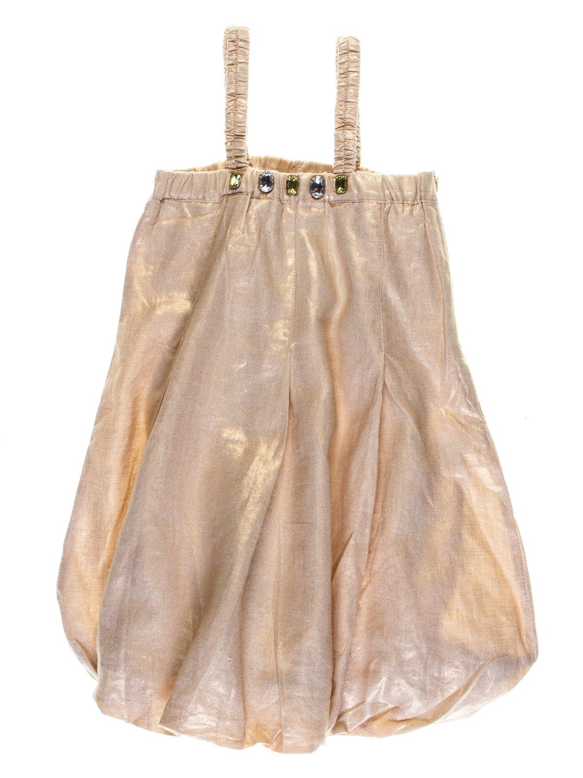 Платье бежево-золотистое с декором | 1051134