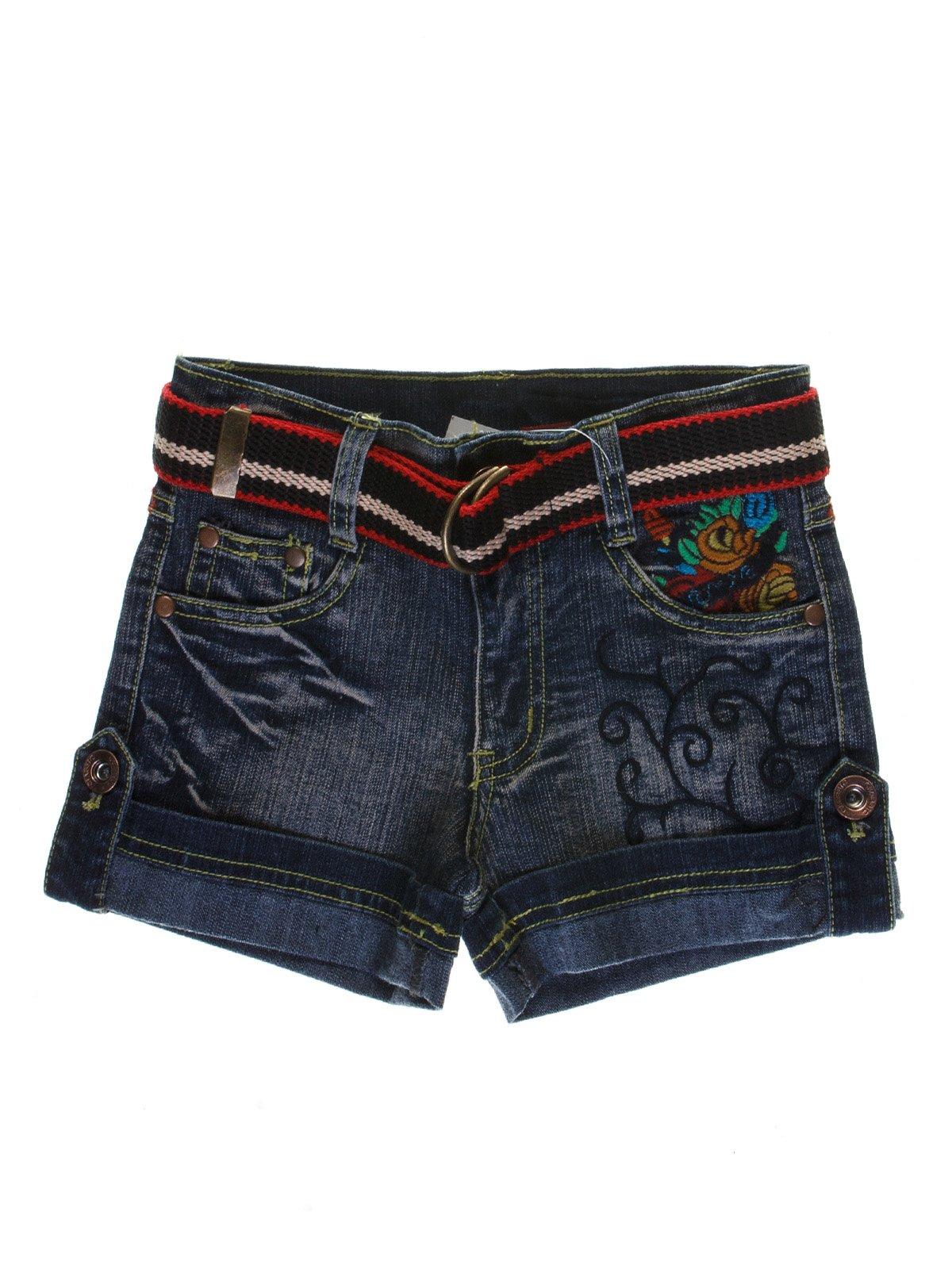 Шорти сині з ефектом трохи потертих і вишивкою джинсові   1051112