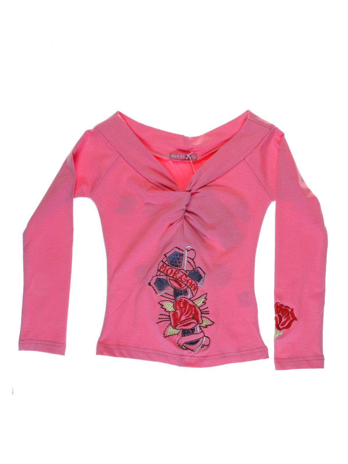 Лонгслів рожевий з вишивкою | 1051239