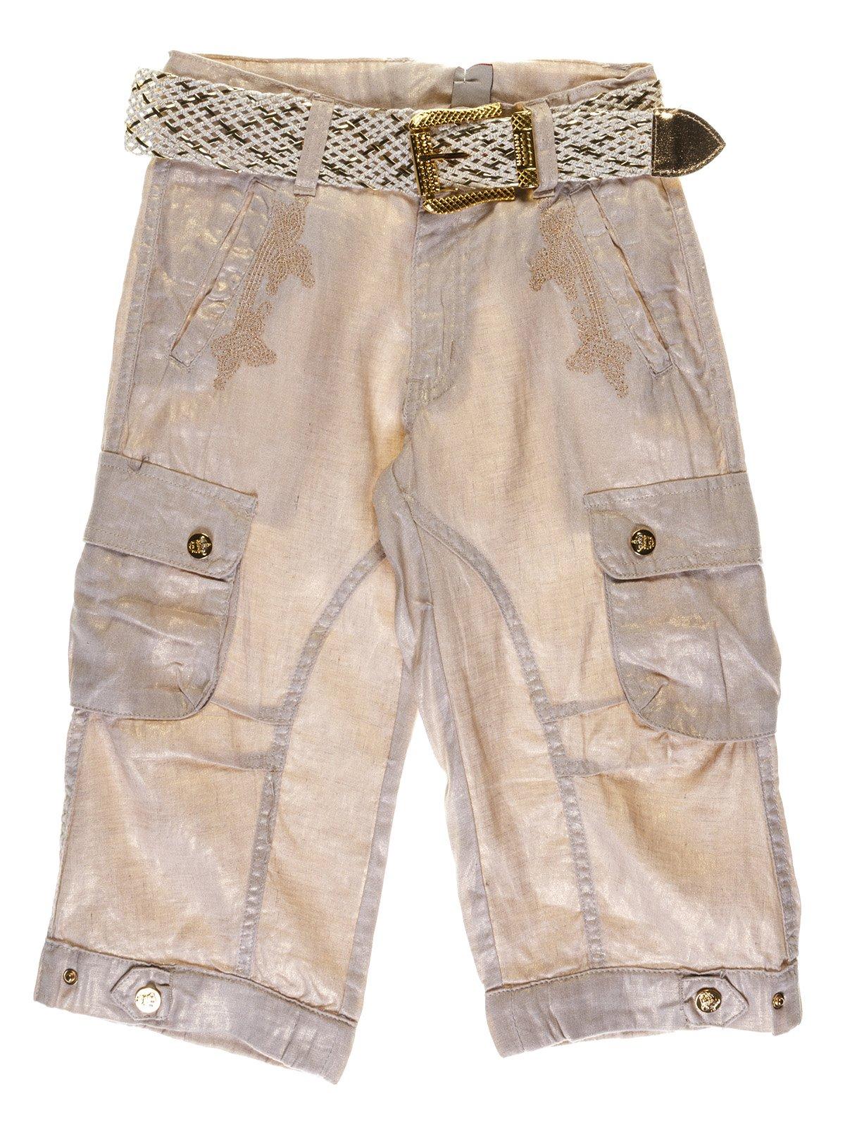 Бриджі бежево-золотавих з вишивкою | 1051131