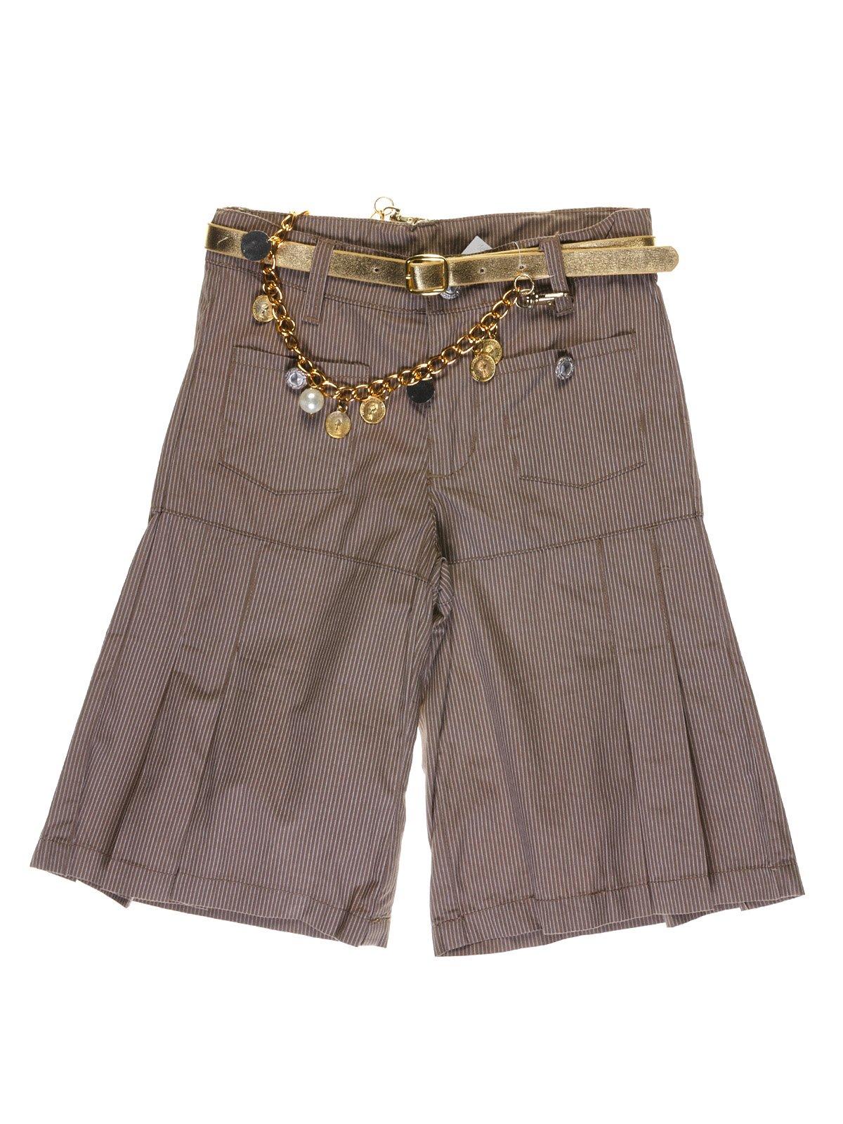 Шорты-юбка коричневые в полоску | 1051114