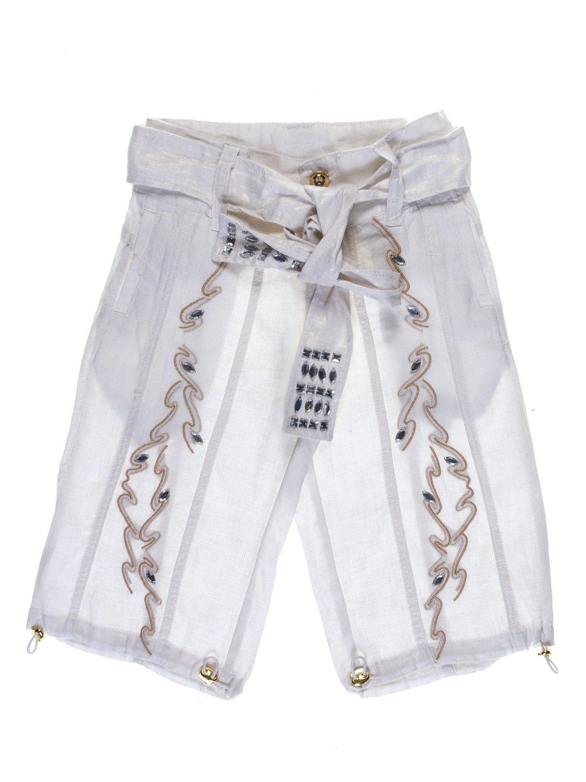 Бриджі білі з вишивкою і декором | 1051133