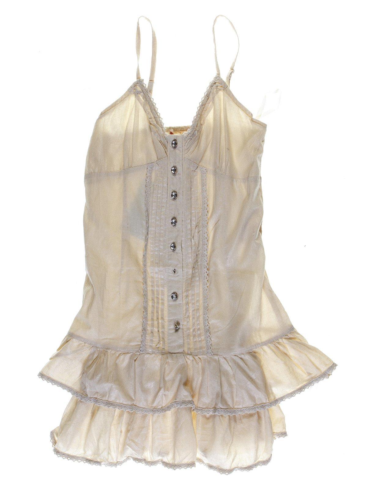 Сукня бежева з мереживним оздобленням | 1051209