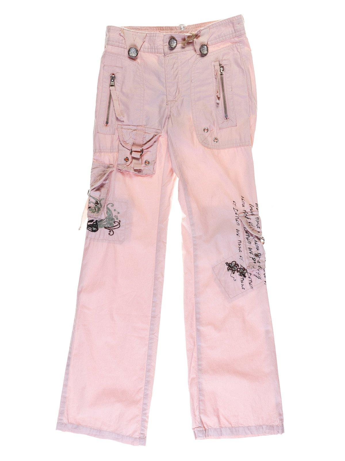 Штани рожеві з вишивкою і написами | 1051203