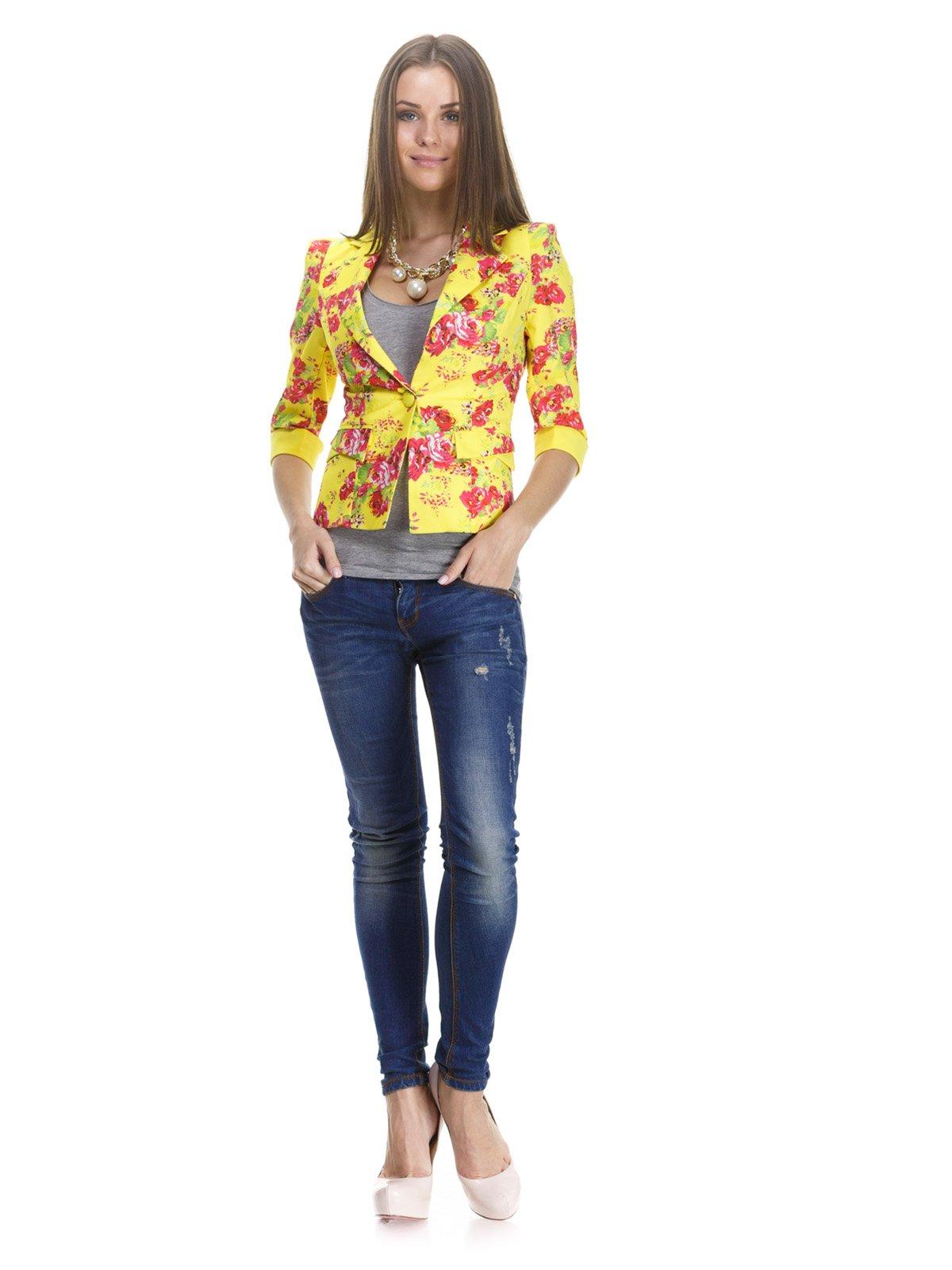 Жакет желтый в цветочный принт | 1045764