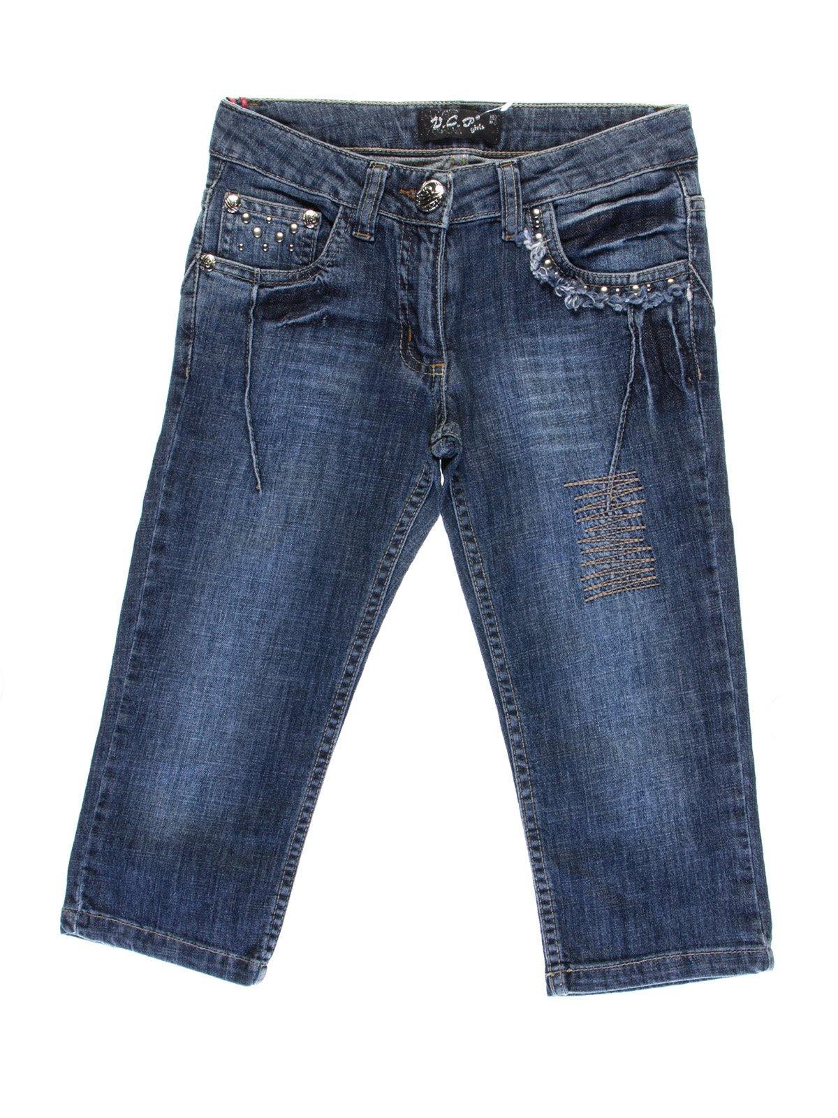 Капри синие джинсовые с эффектом потертых   1076949