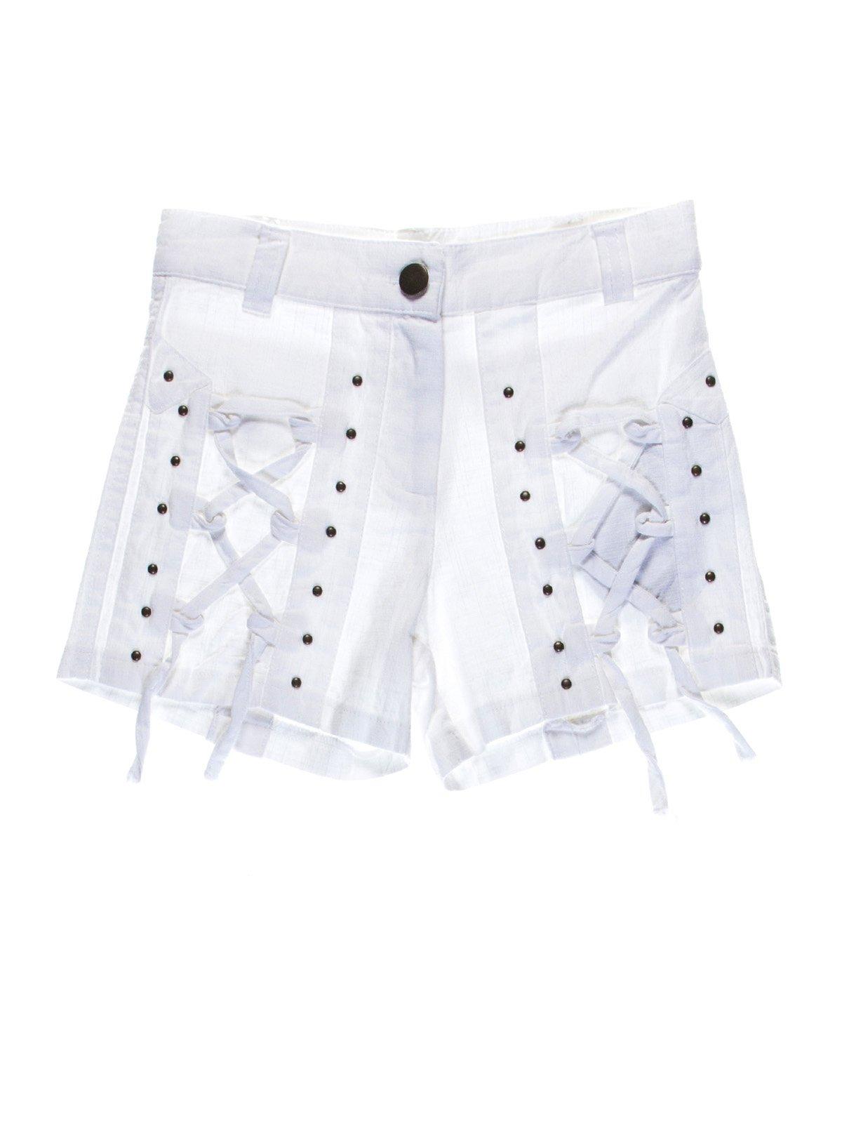 Шорты белые с декоративными шнуровками   1076720