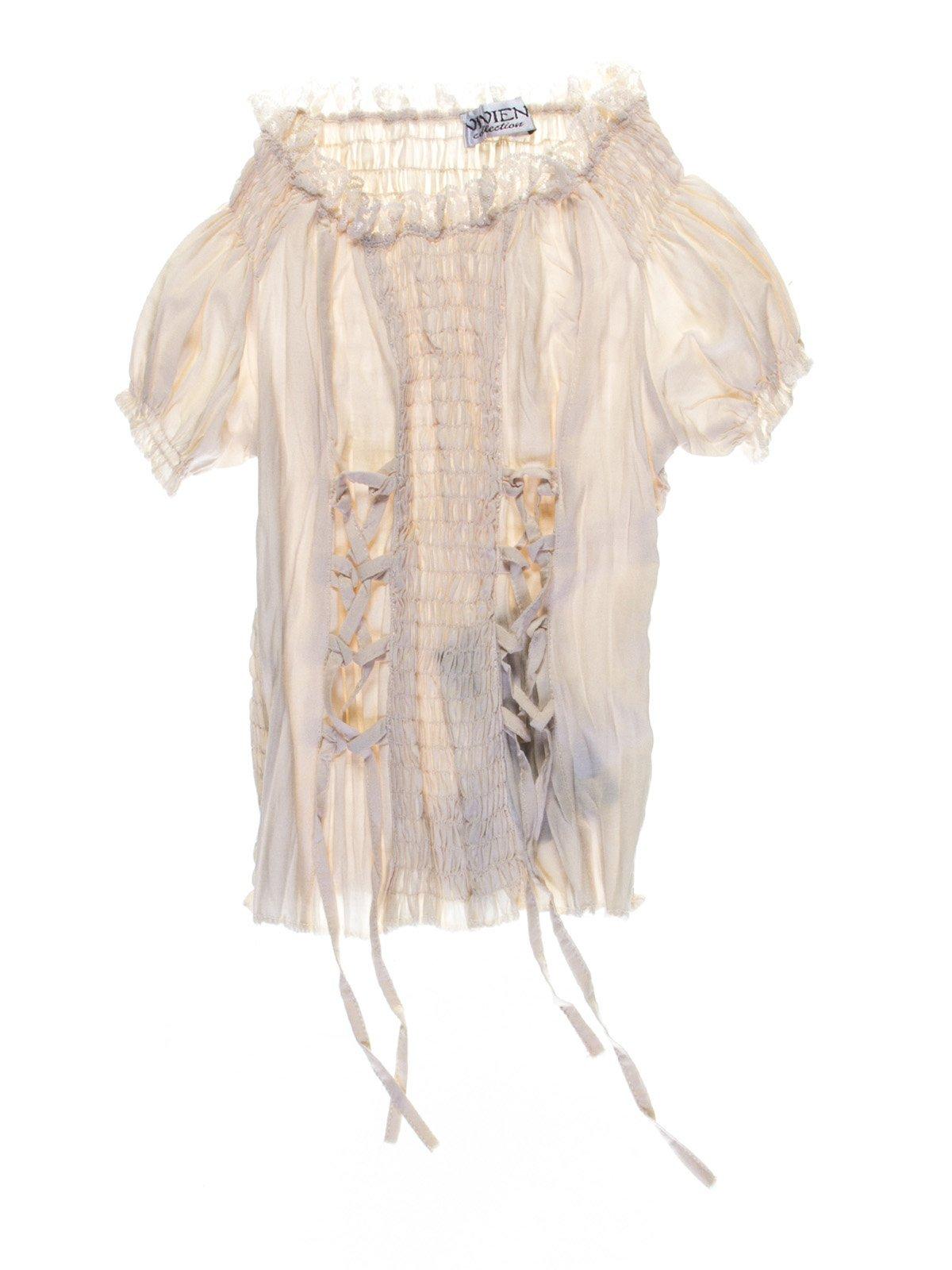 Блуза бежева з декоративними шнурівками | 1076875