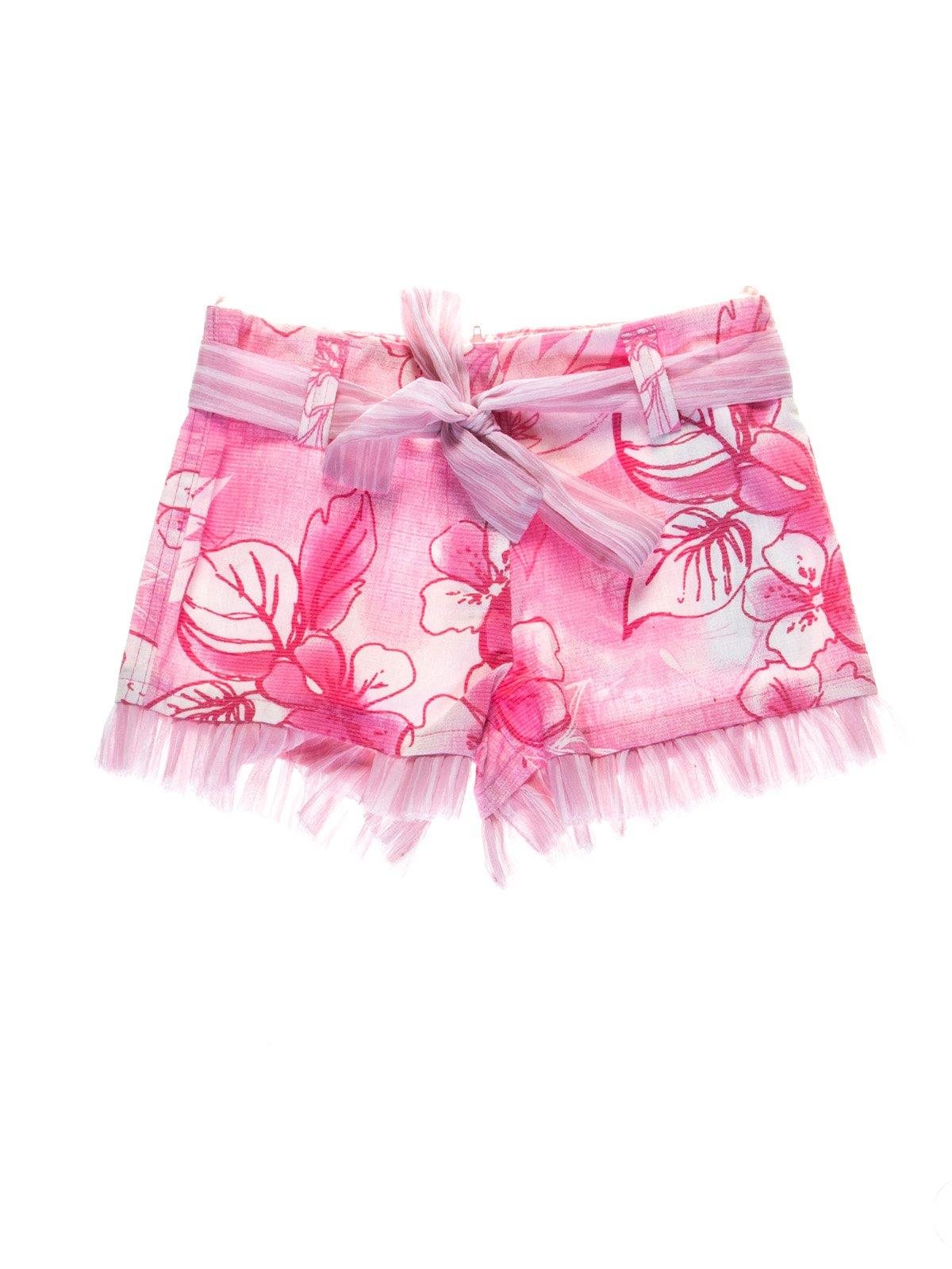 Шорти рожеві з квітковим принтом | 1076799