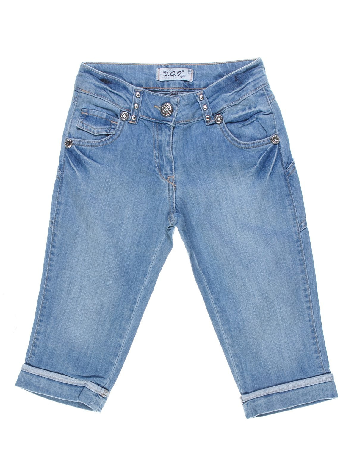 Шорты голубые джинсовые с эффектом потертых   1076954