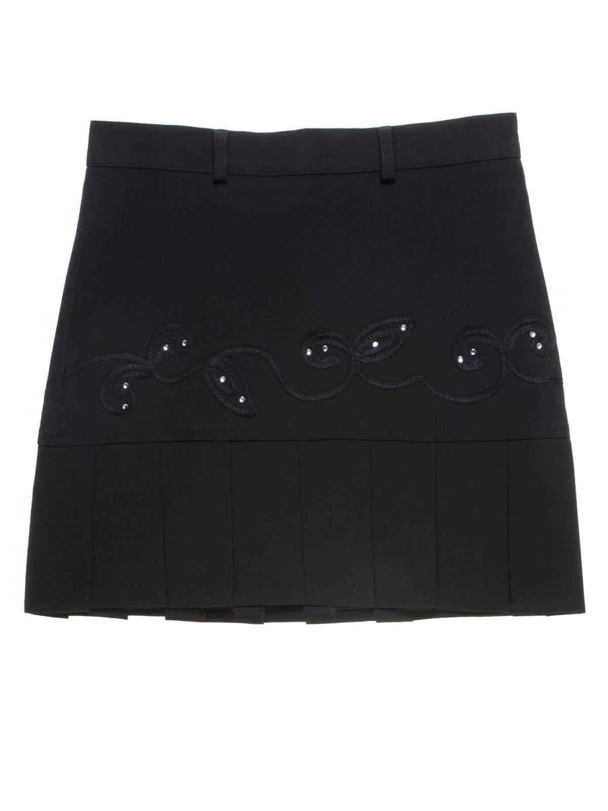 Юбка черная с декорированной отделкой | 1236762