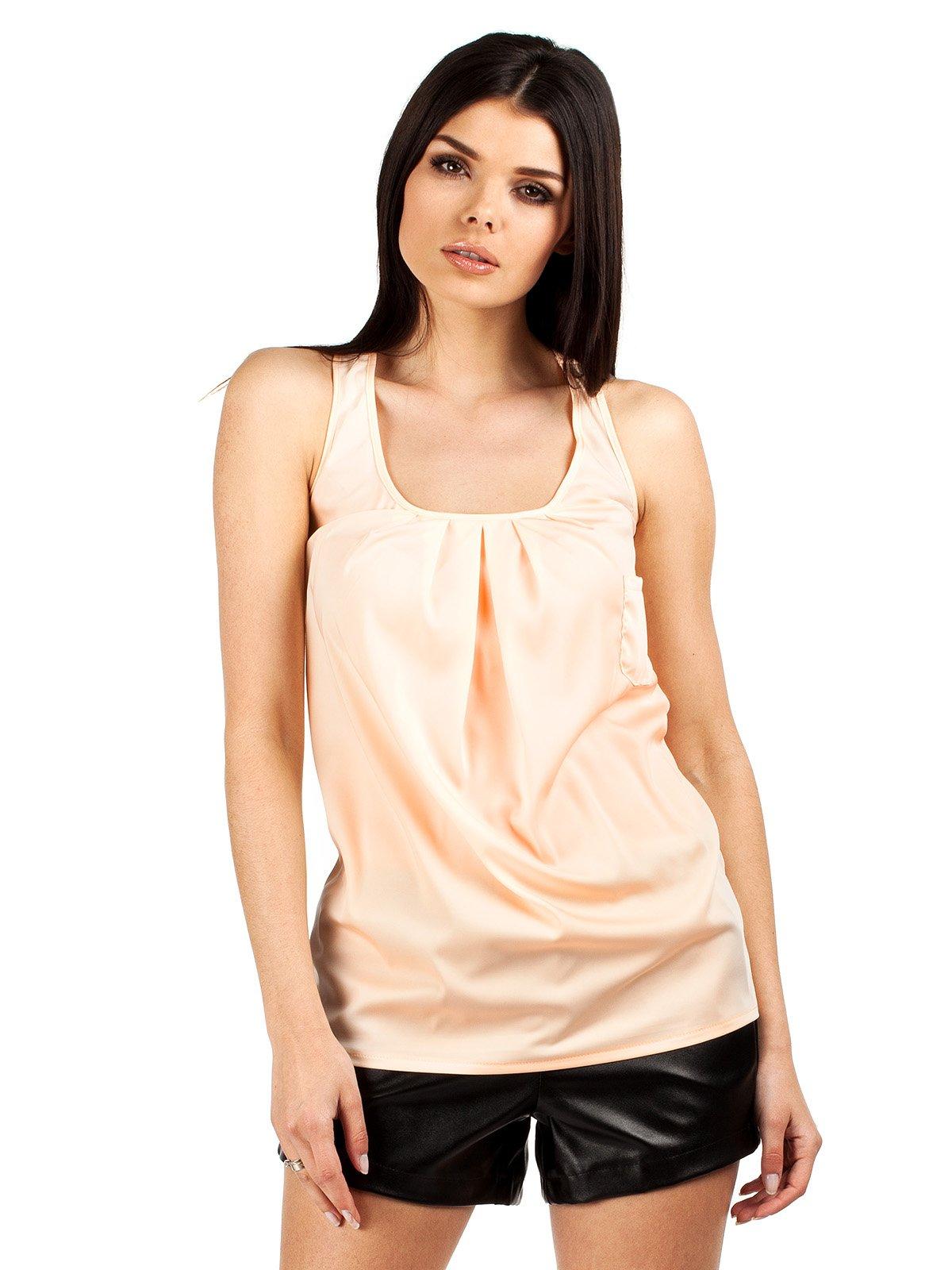 Топ персикового цвета со складками на лифе | 1240099