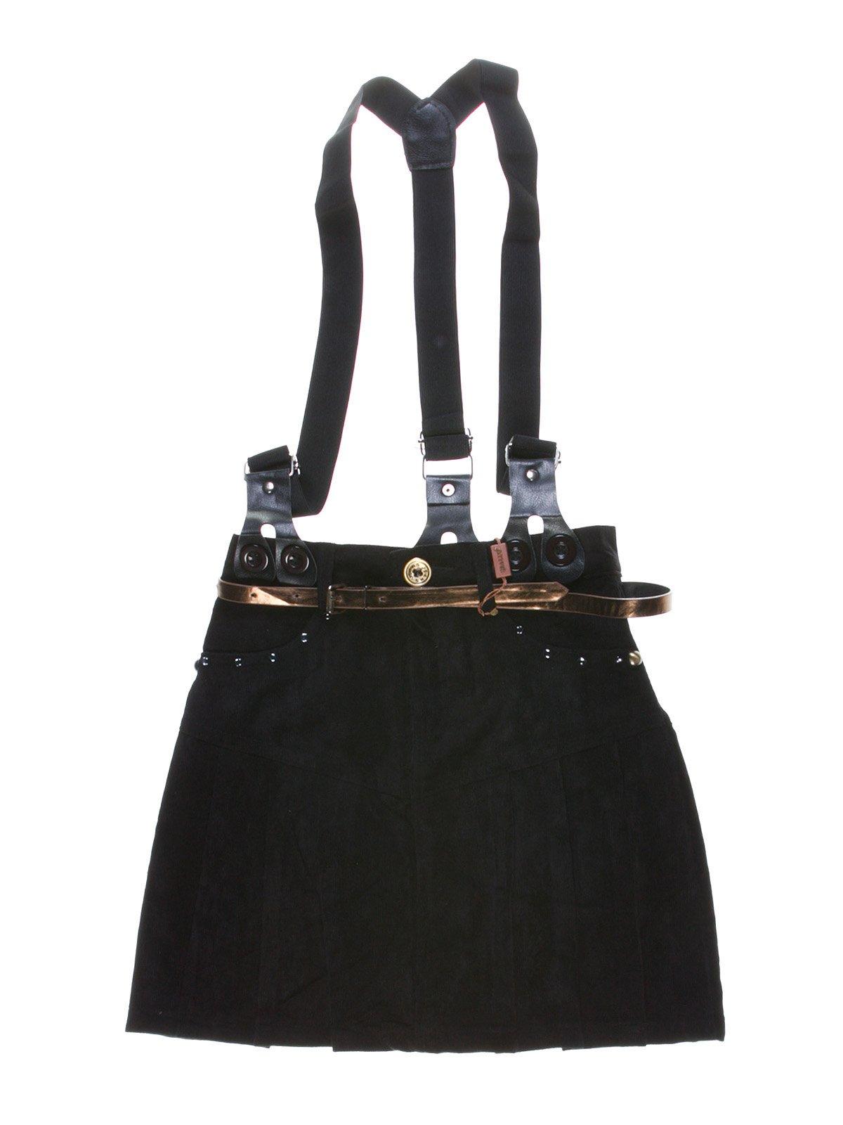 Спідниця чорна в складку з підтяжками і декором   1270001