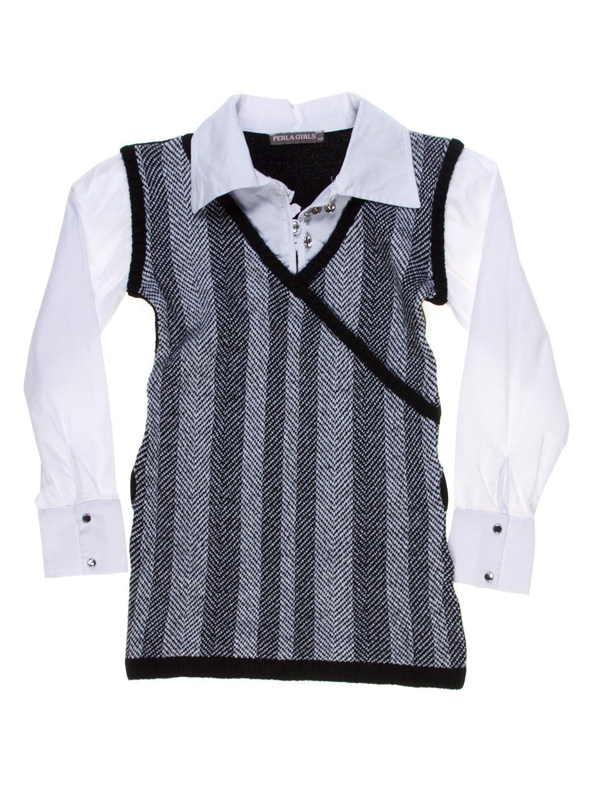 Сукня сіро-чорна зі стилізованою блузою тепла   1269980