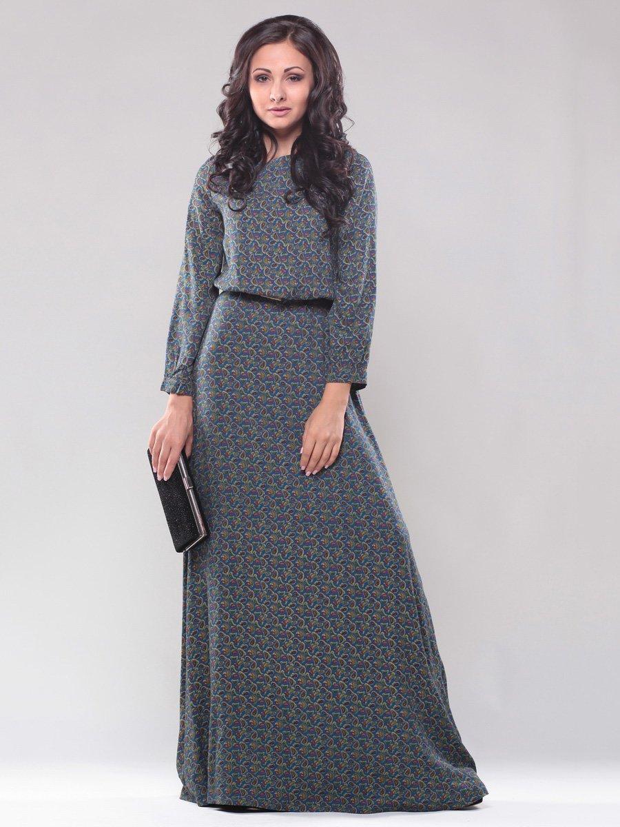 Платье чернильного цвета в принт | 1279153