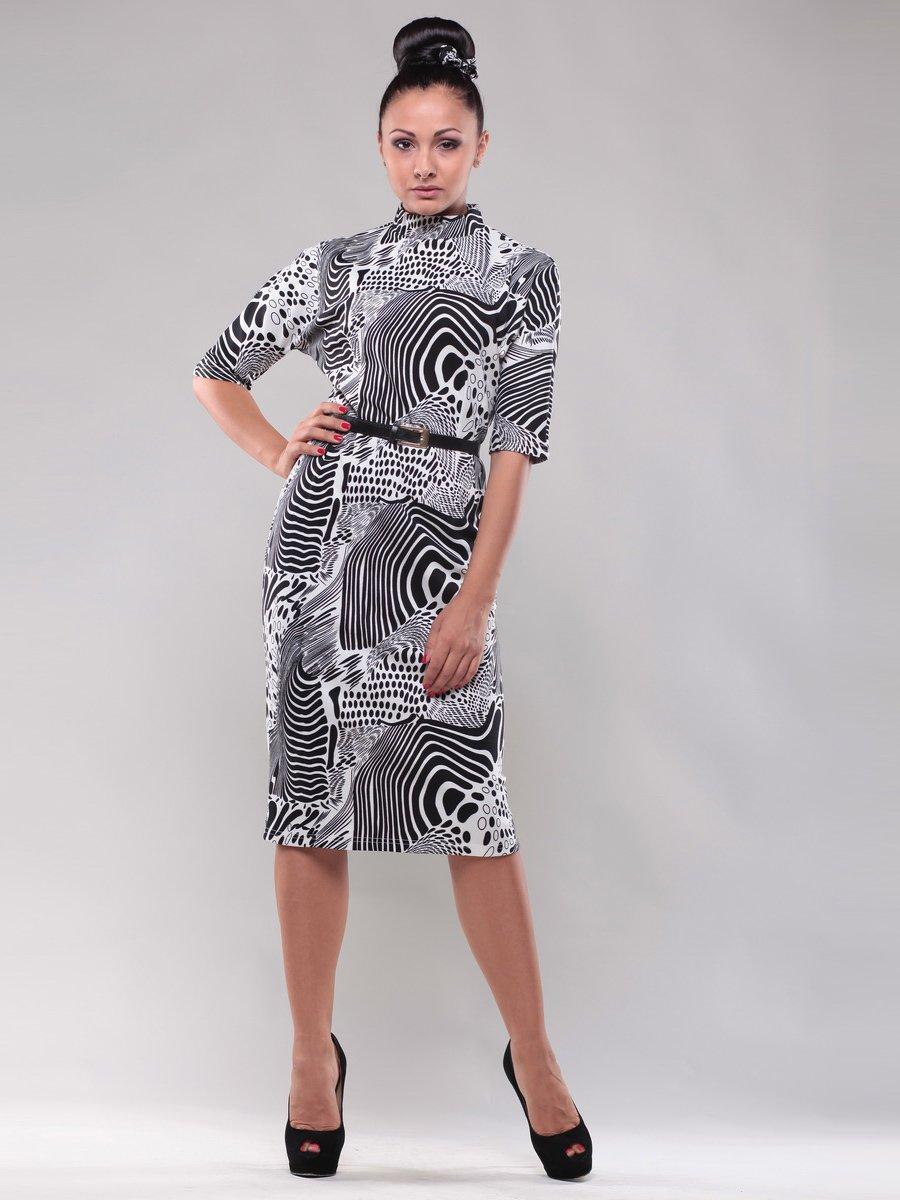 Платье черно-белое в принт | 1312535