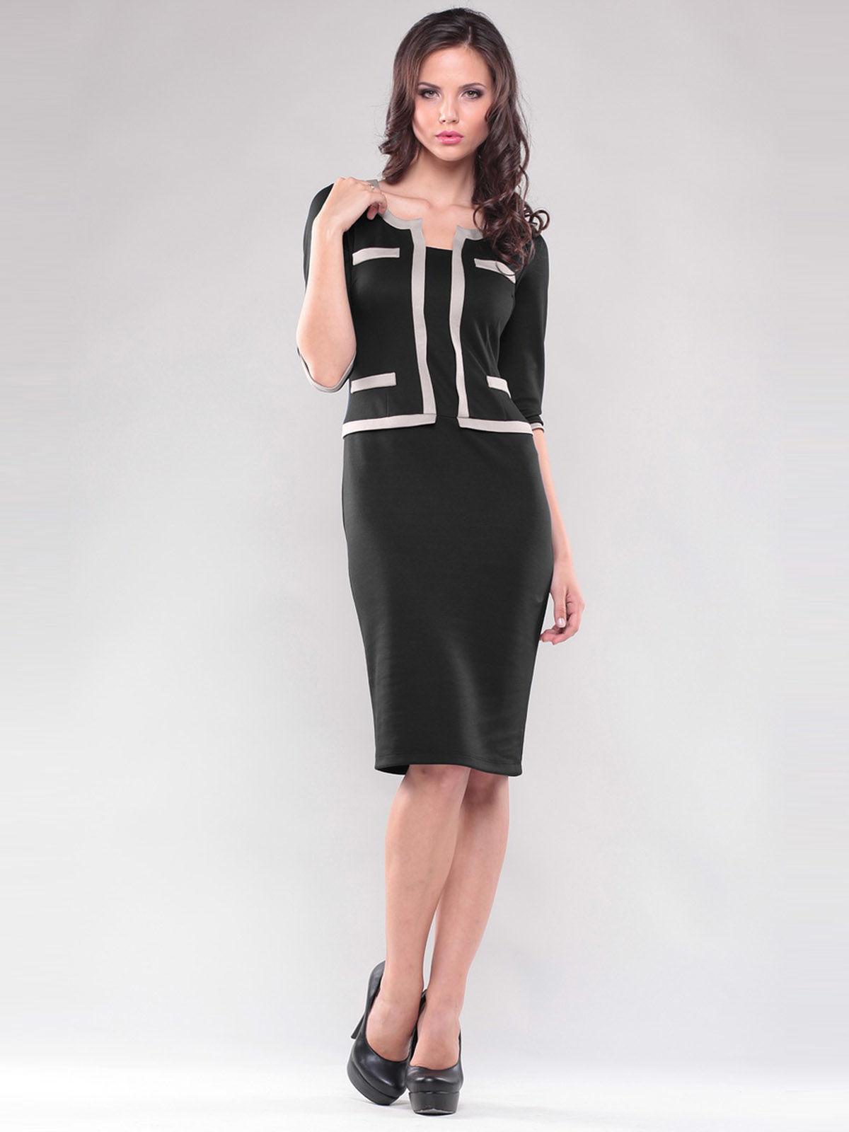 Платье черное со стилизованным жакетом | 1343736