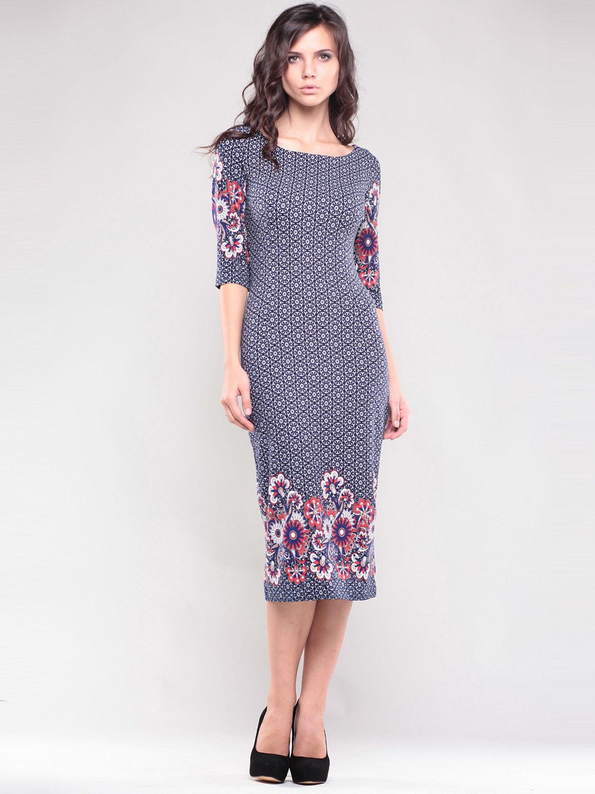 Платье темно-синее в принт | 1343780
