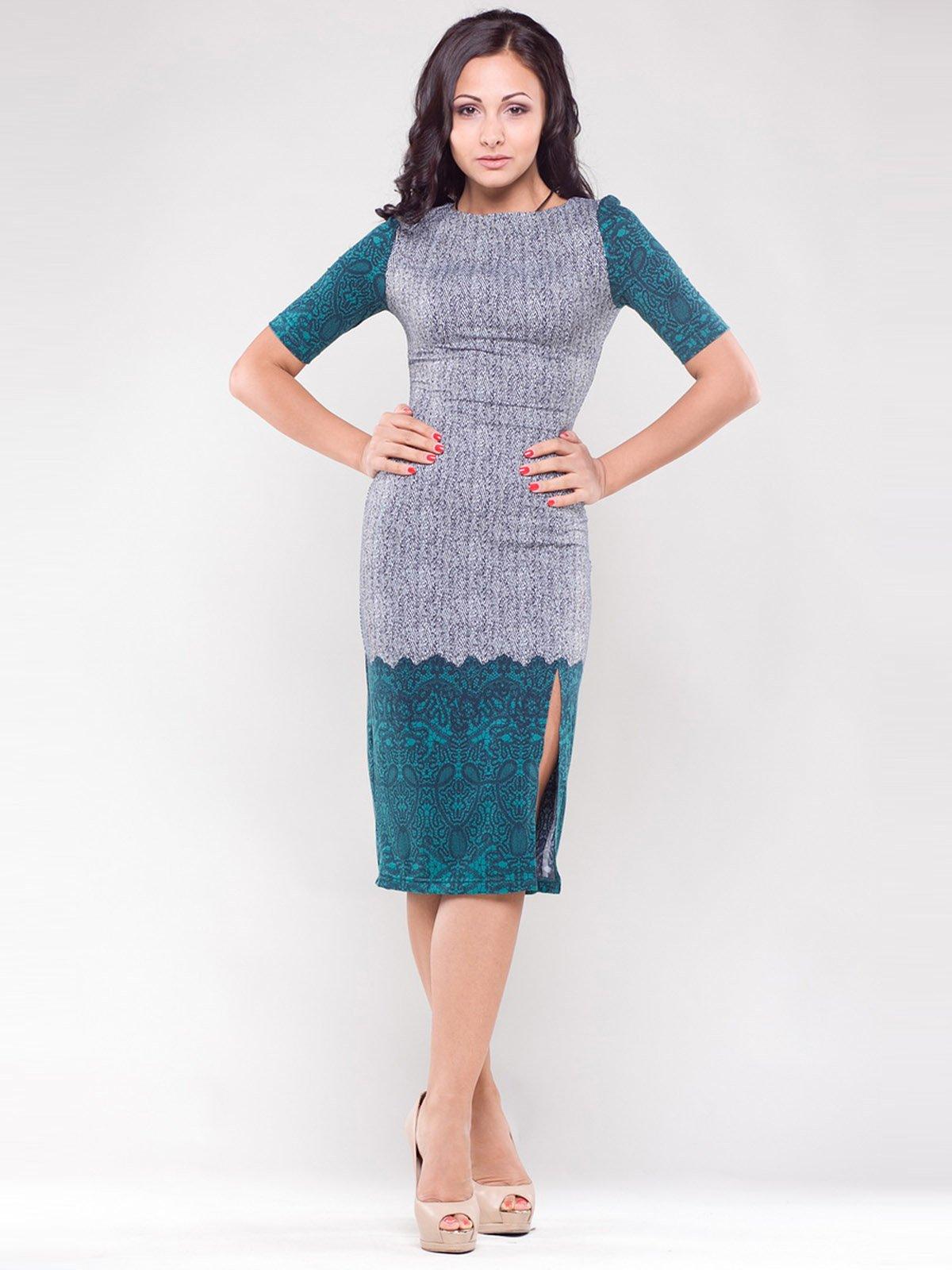 Сукня сіро-зелена у візерунок   1343792