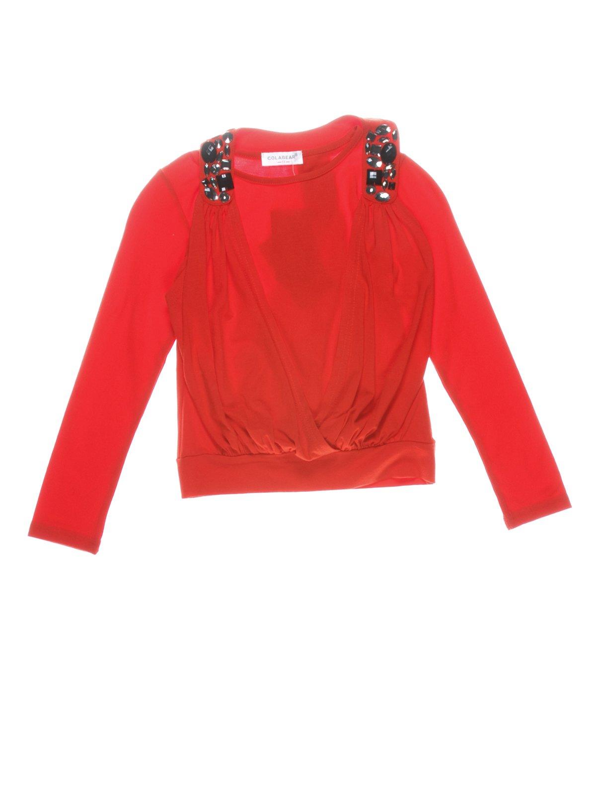 Джемпер красный со стилизованным жилетом | 649139