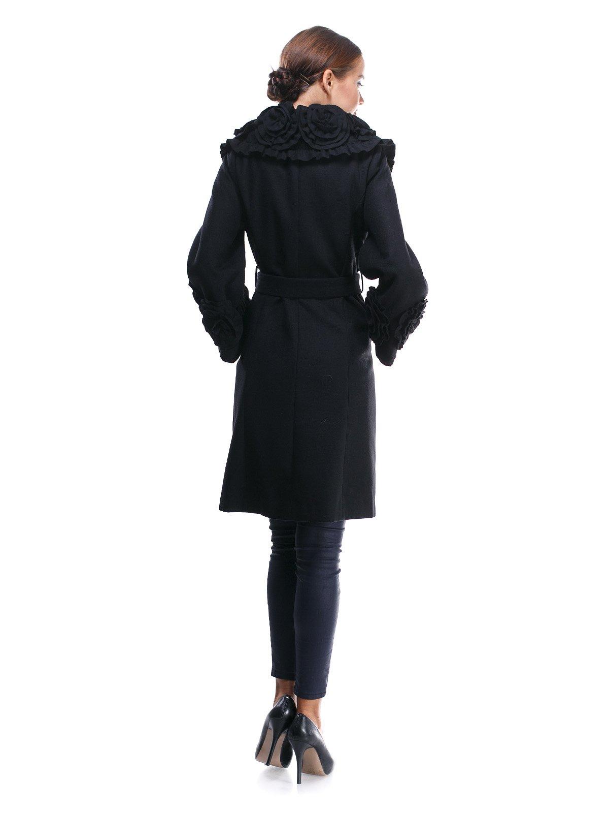Пальто черное с отделкой и поясом-завязкой | 1370624 | фото 2