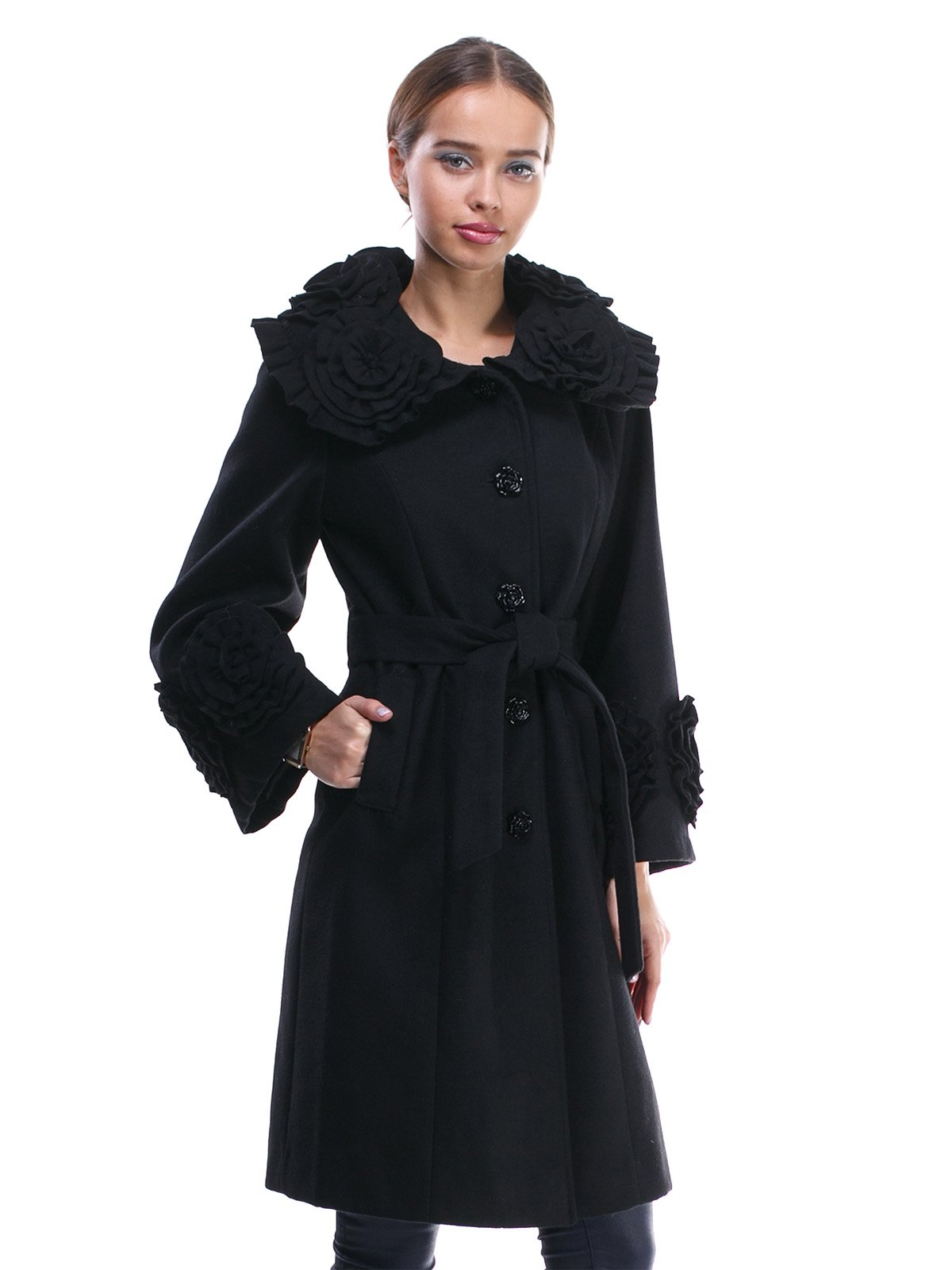 Пальто черное с отделкой и поясом-завязкой | 1370624 | фото 3