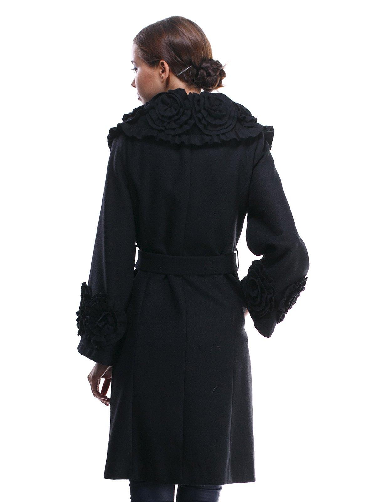 Пальто черное с отделкой и поясом-завязкой | 1370624 | фото 4