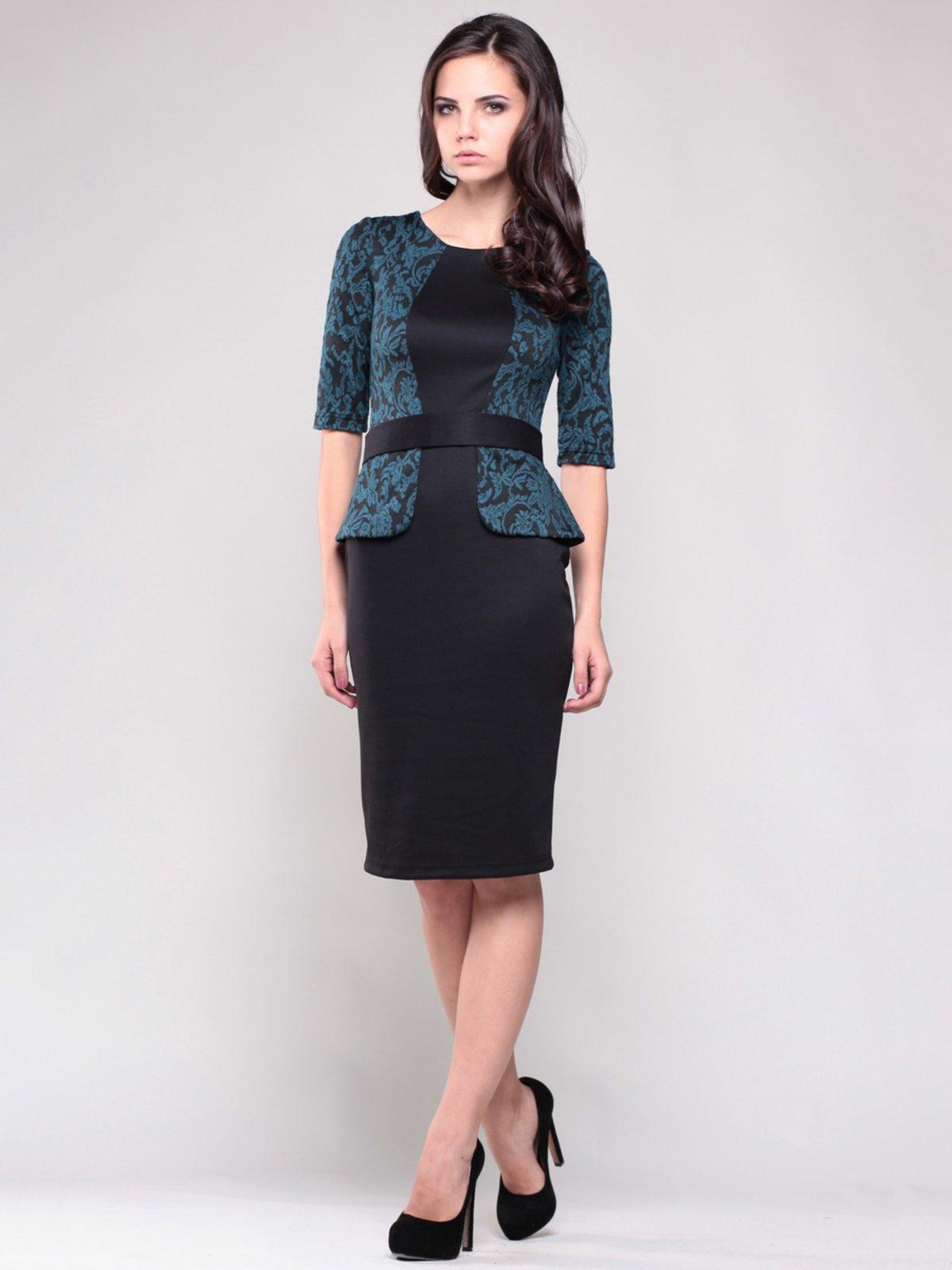 Платье черное со стилизованным жакетом в узор | 1374842