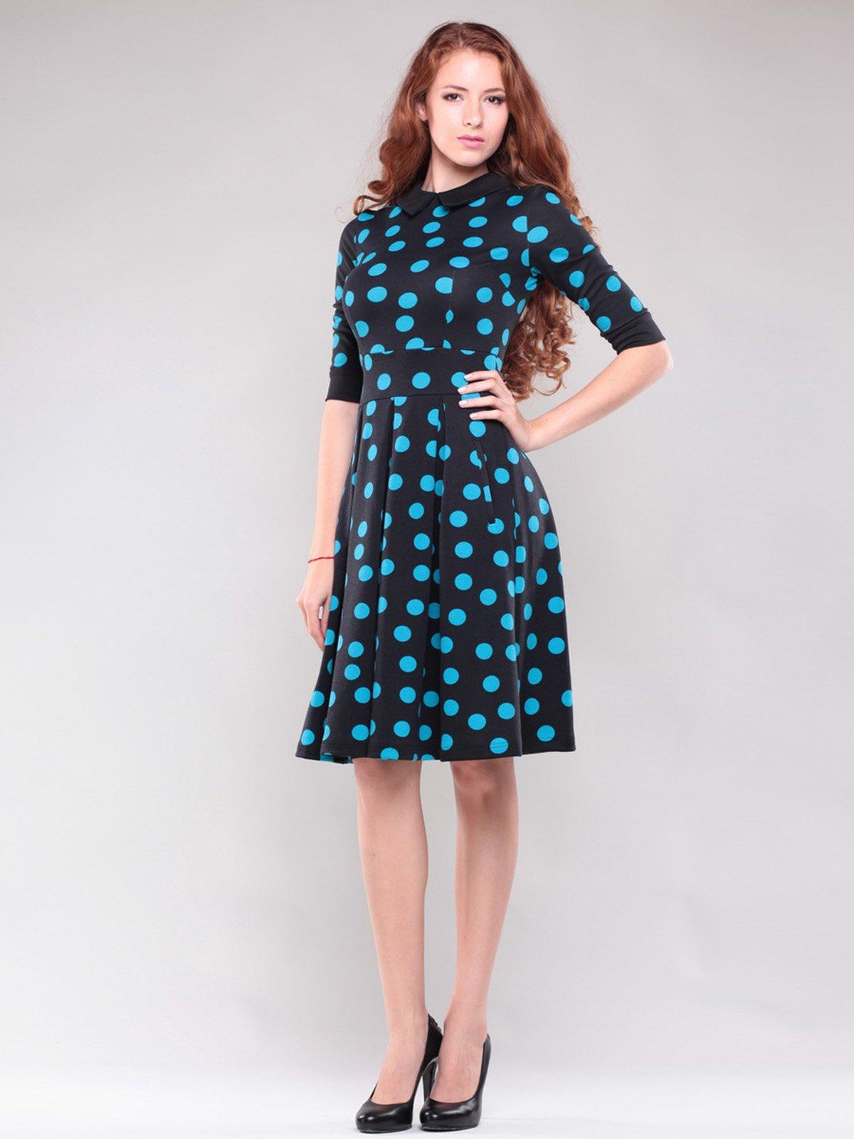 Платье черное в контрастный горох | 1397205