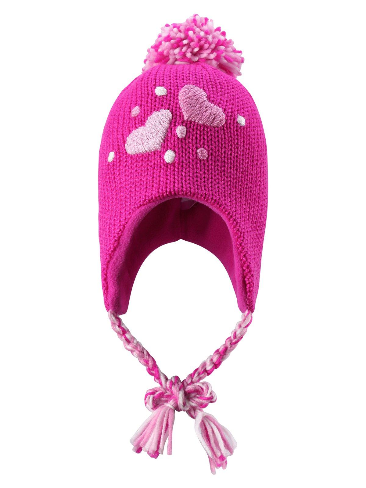 Шапка рожева з помпоном | 1403356
